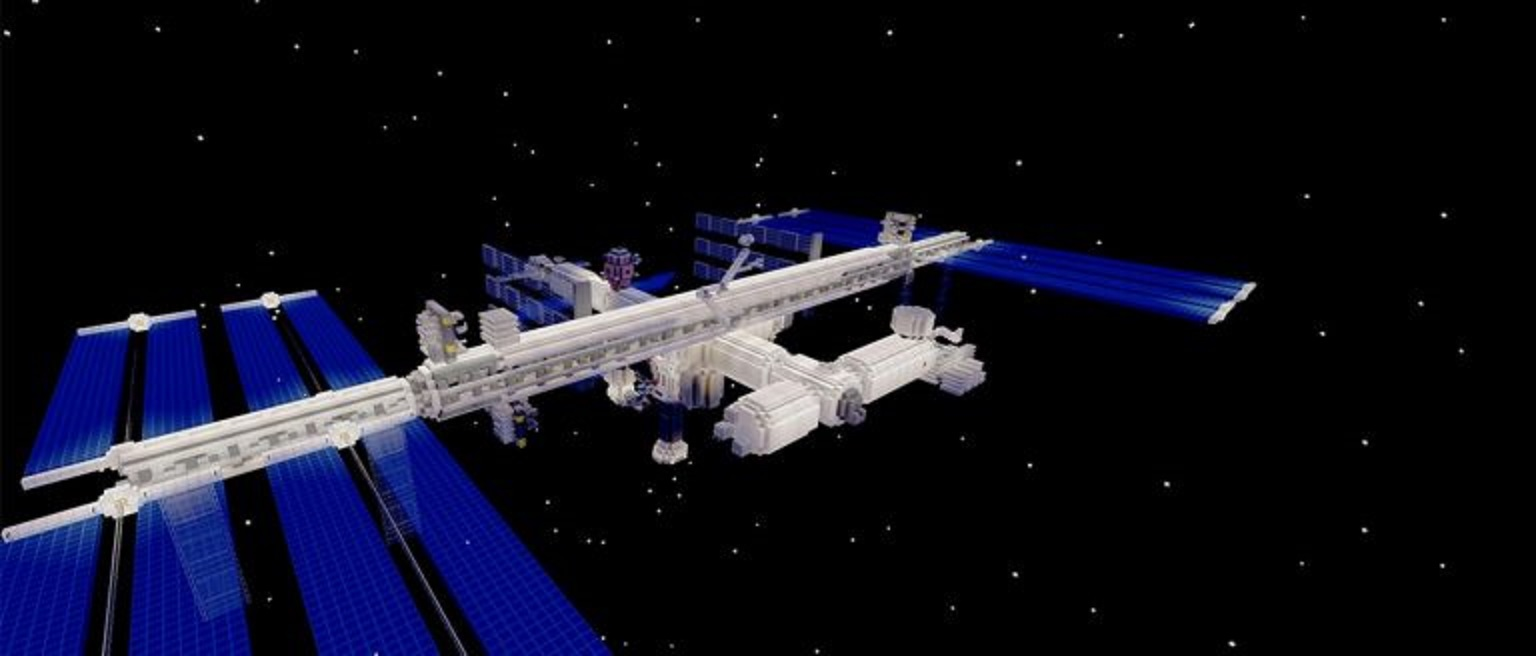 A version of the International Space Station built in Minecraft