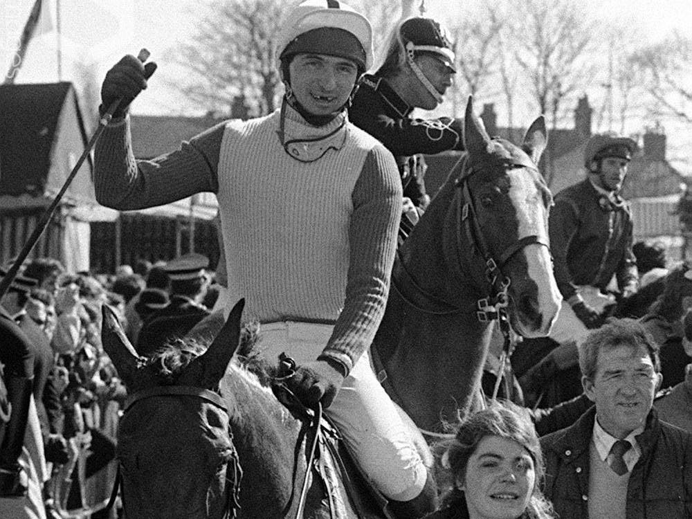 Jimmy Frost and Little Polveir return to the winner's enclosure after the Grand National in 1989 (PA)
