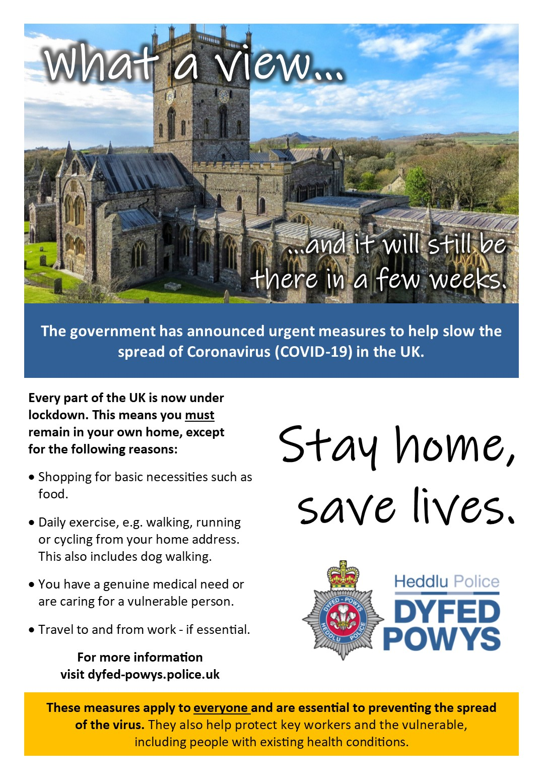 Police in Pembrokeshire are distributing flyers warning of the locksdown (Dyfed-Powys Police/PA)