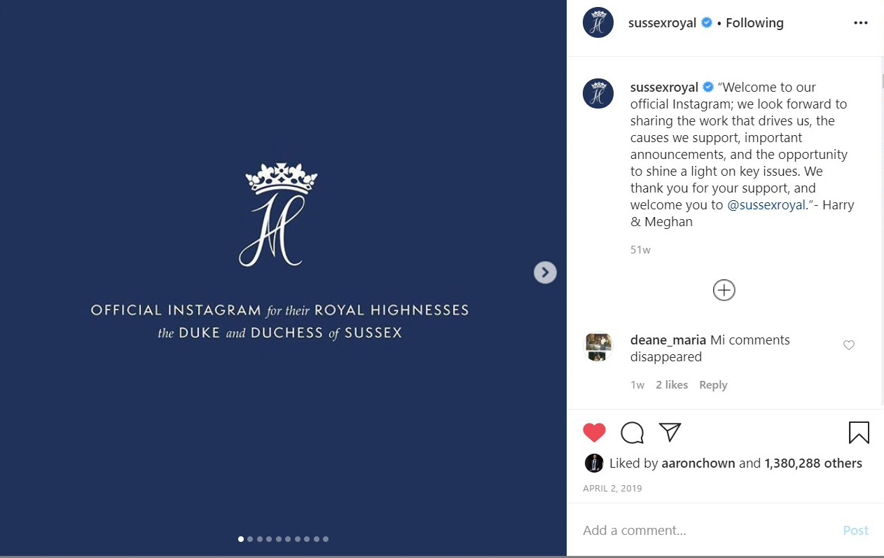 Harry and Meghan's Instagram