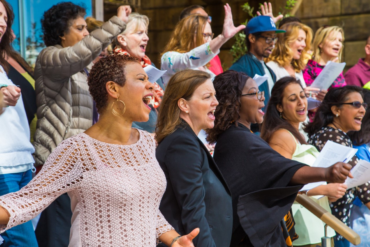The choir performing together before the coronavirus outbreak led to restrictions on movement (The Battersea Power Station Community Choir /PA)