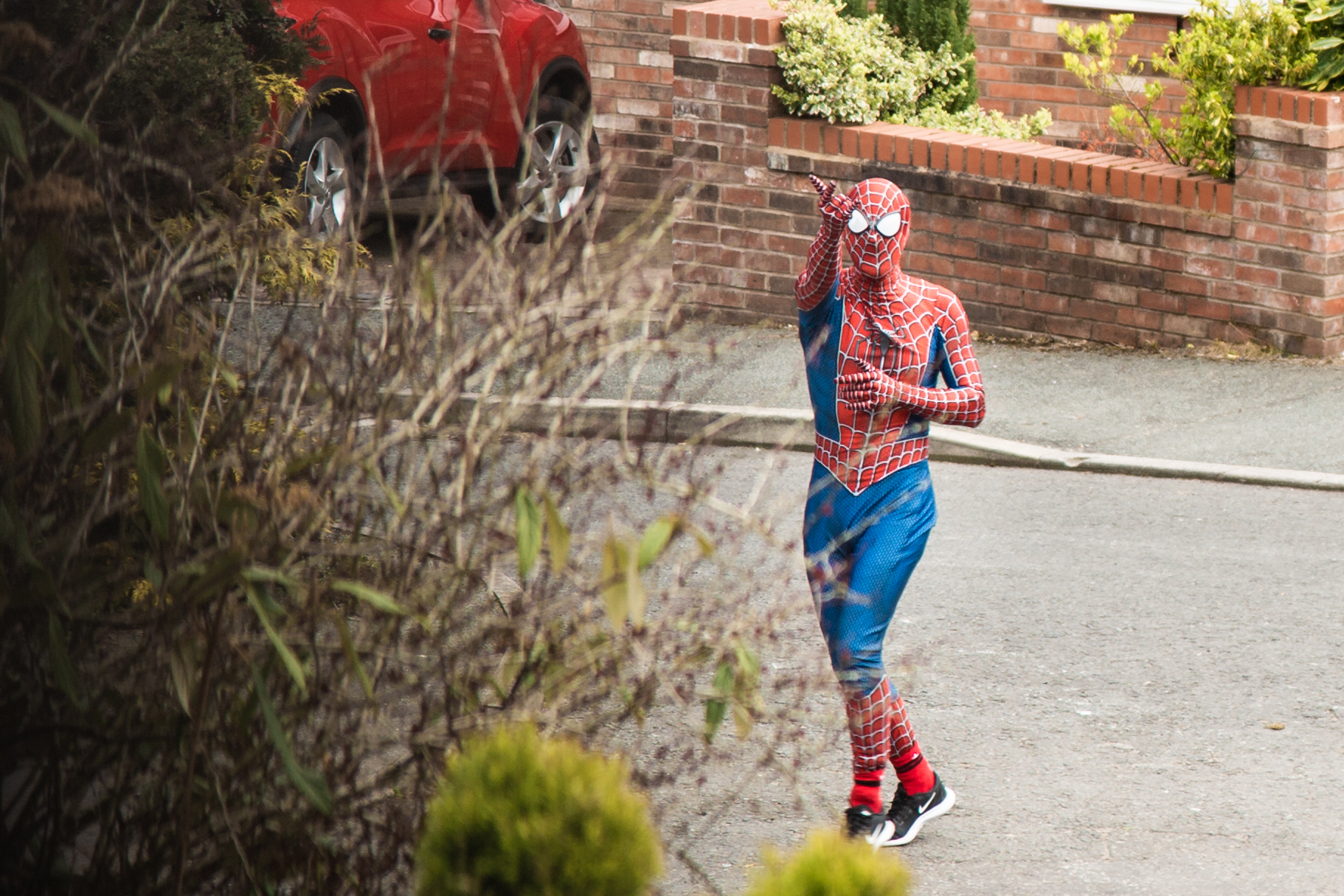 The 'Stockport Spider-Man' visits local residents