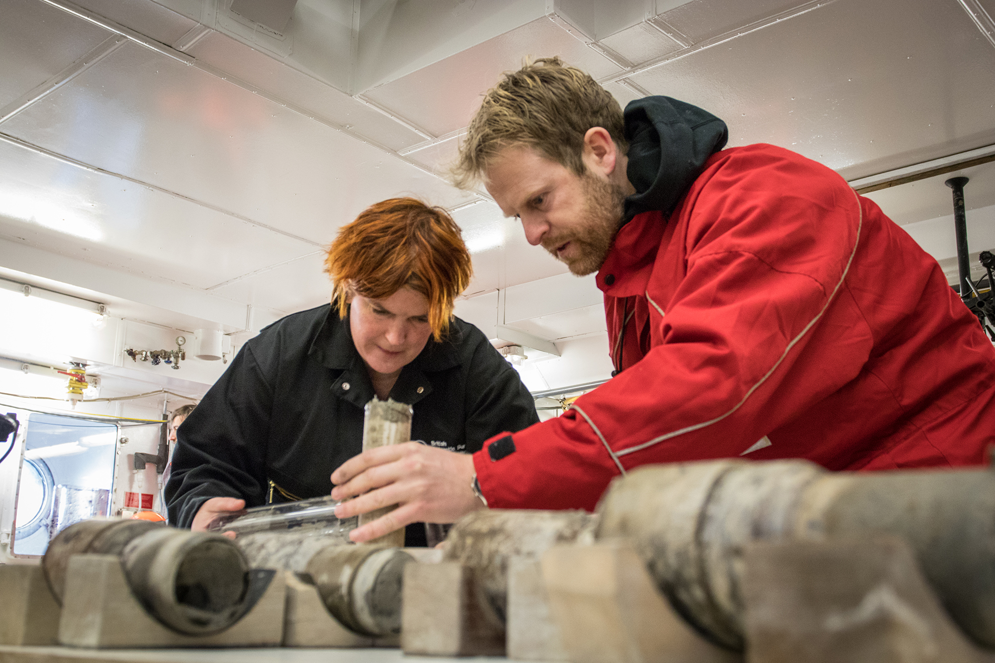 Professor Tina van de Flierdt and Dr Johann Klages work on the sample of ancient soil