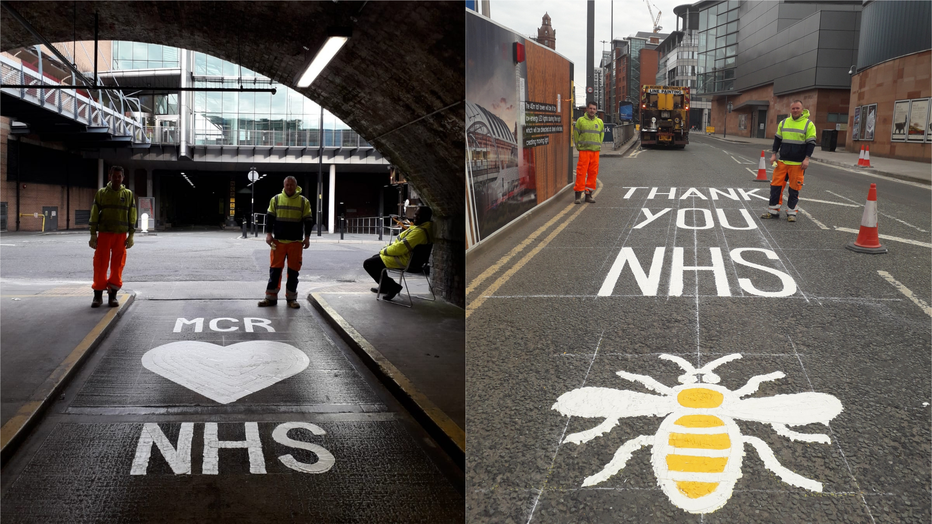 Road markings for NHS staff