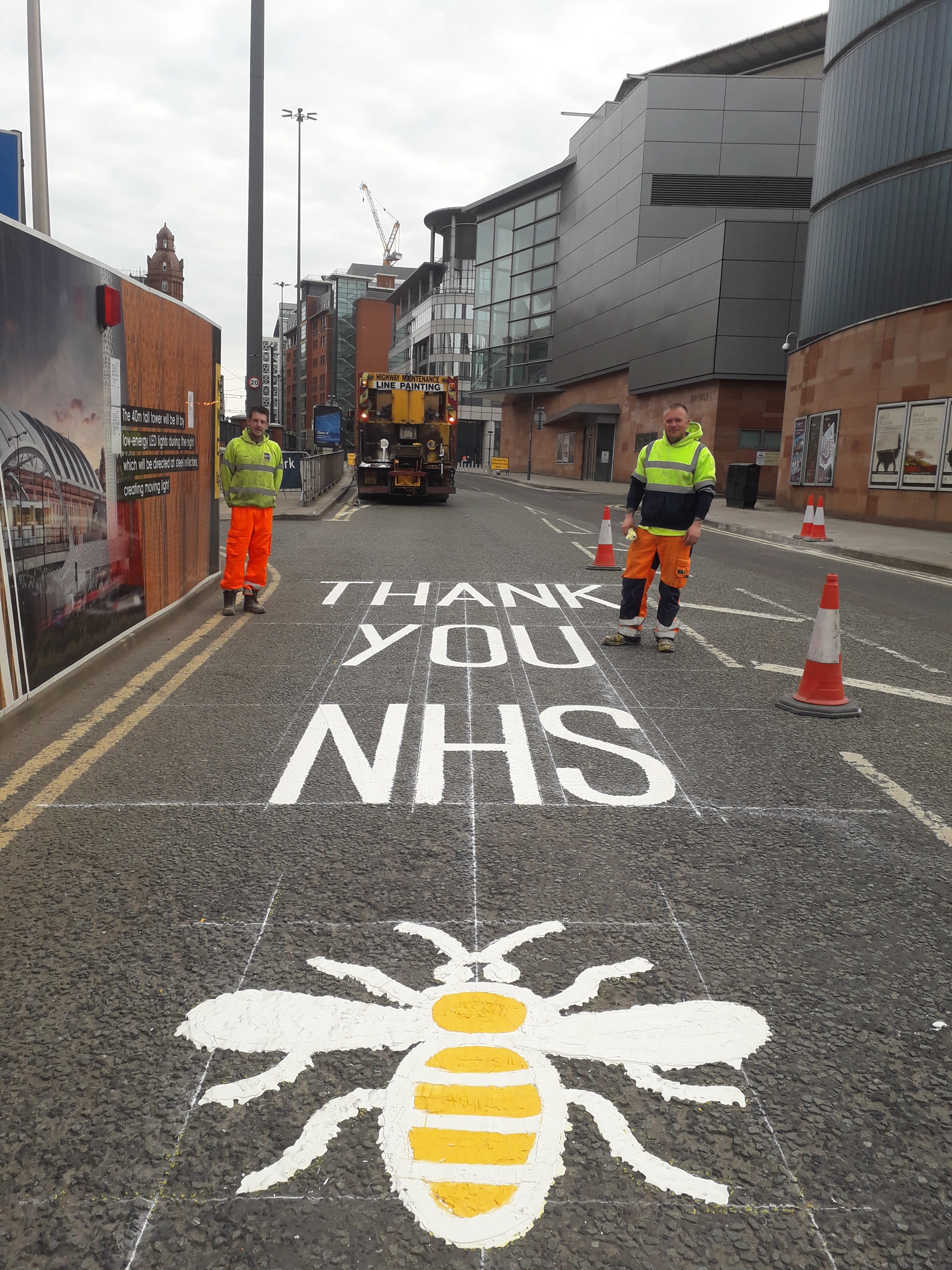 A road marking in Manchester in support of the NHS