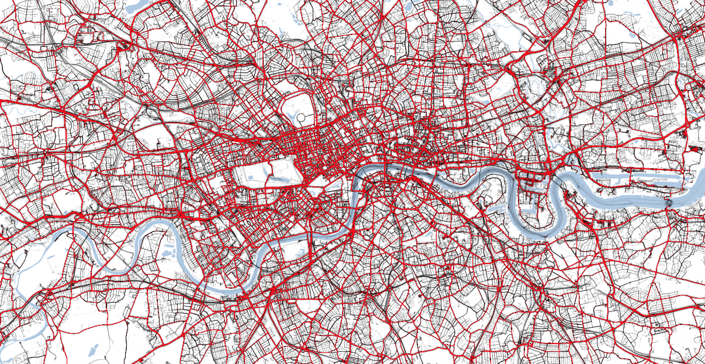Traffic levels in London at 5pm on Maundy Thursday 2019. The red lines indicate heavy traffic. (TomTom/PA)