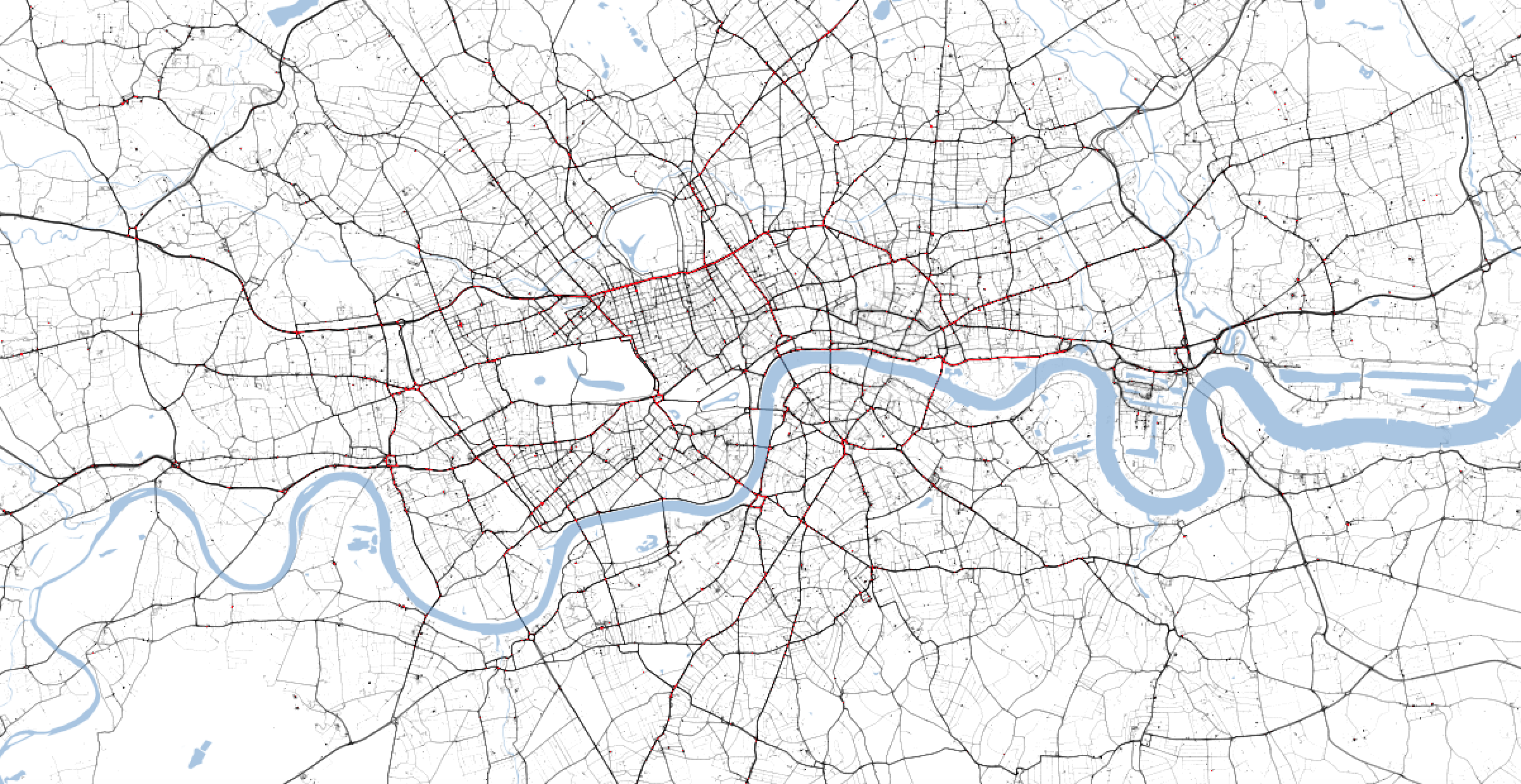 Traffic levels in London at 5pm on Thursday. The grey lines indicate low traffic. (TomTom/PA)