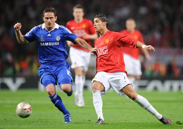 Chelsea's Frank Lampard and Manchester United's Cristiano Ronaldo battle for the ball in the 2008 Champions League final