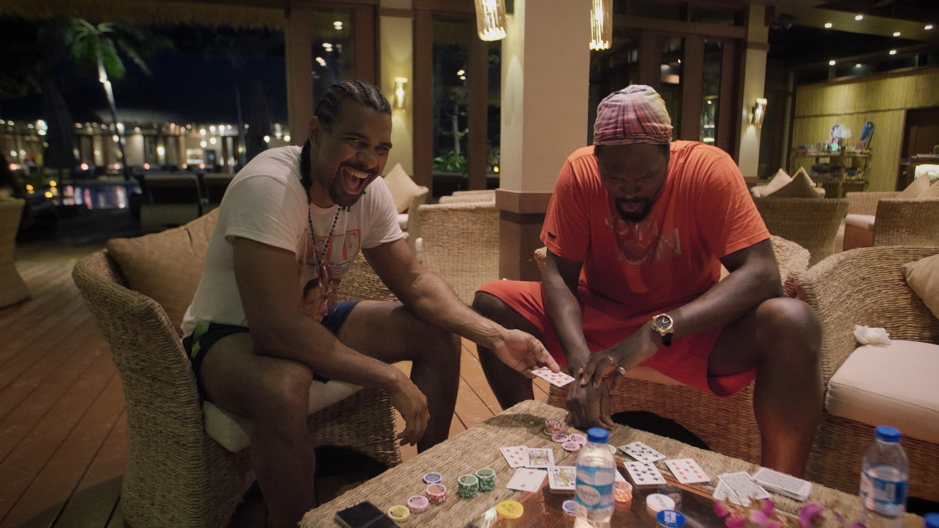 Audley Harrison, right, helped Haye fine tune his poker skills