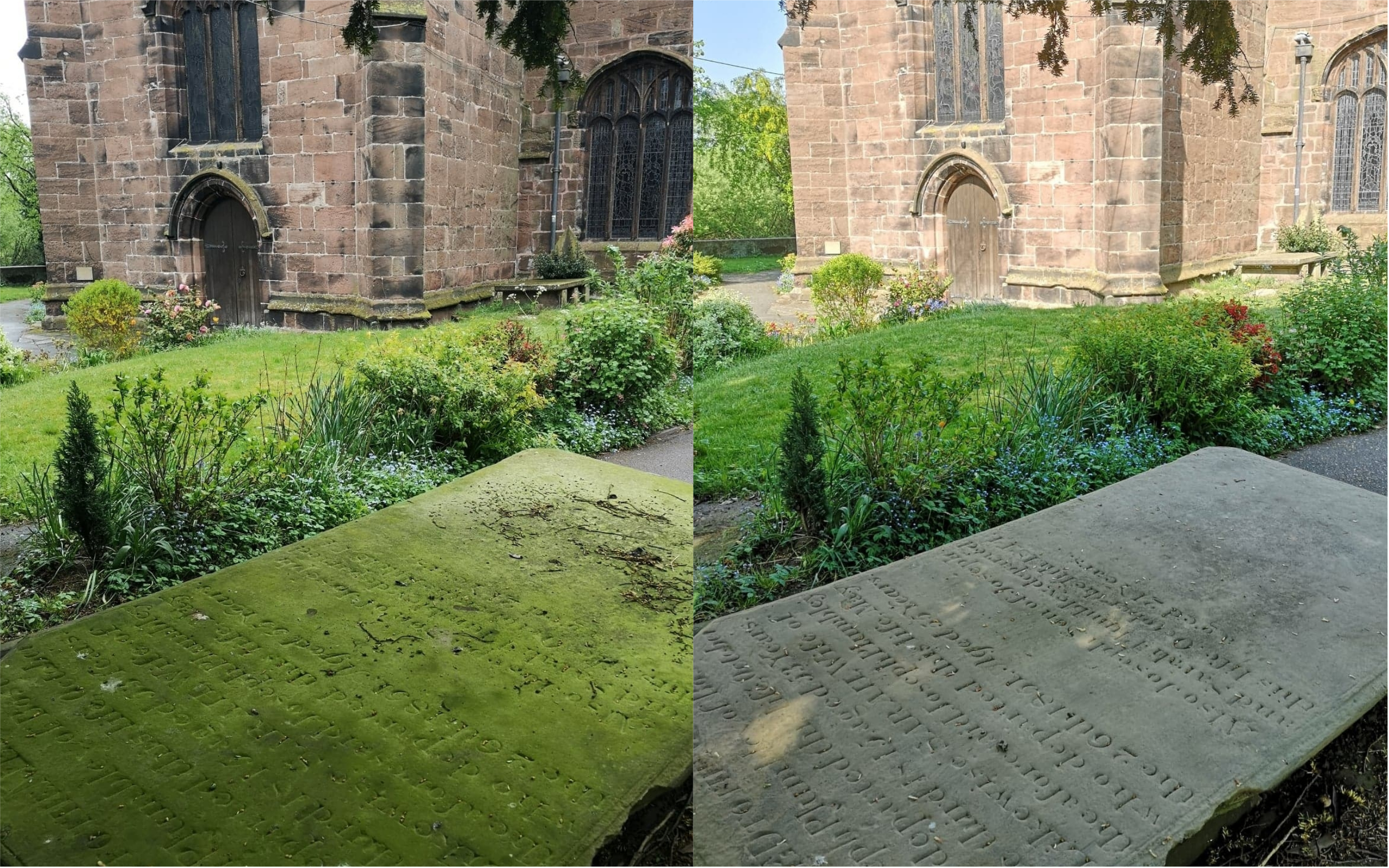 A gravestone before and after being cleaned up