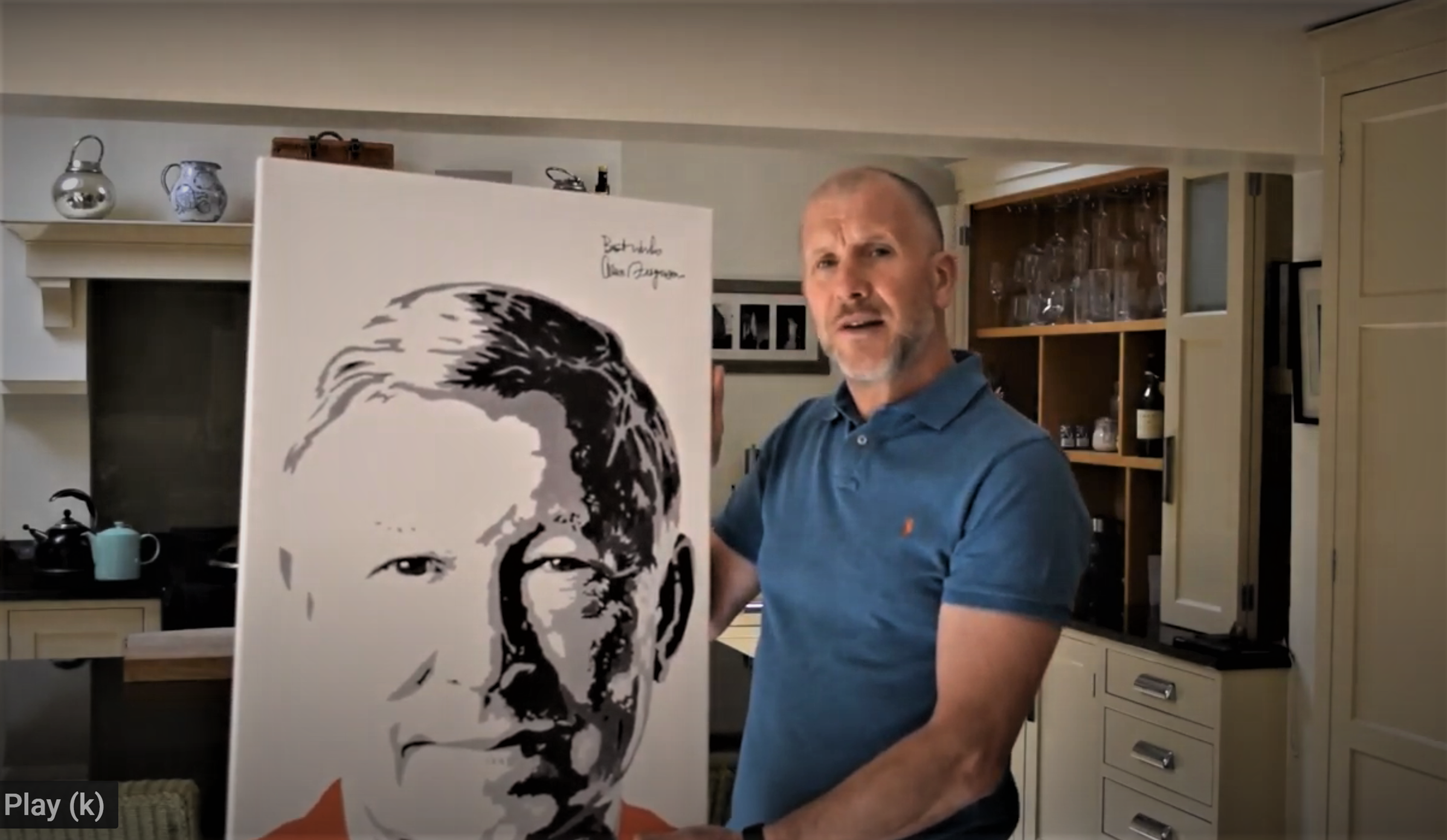 Stewart Regan with the signed portrait