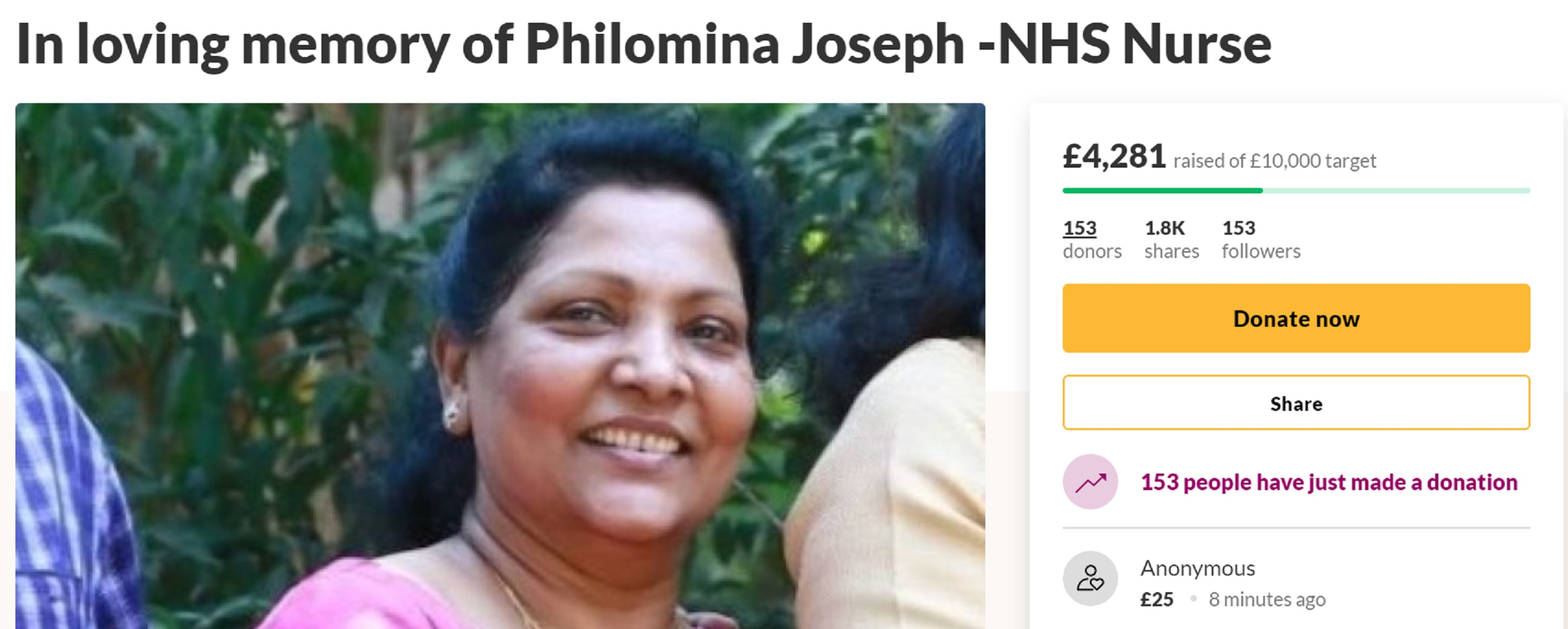 The GoFundMe page set up to help pay for the memorial of Philomina Cherian