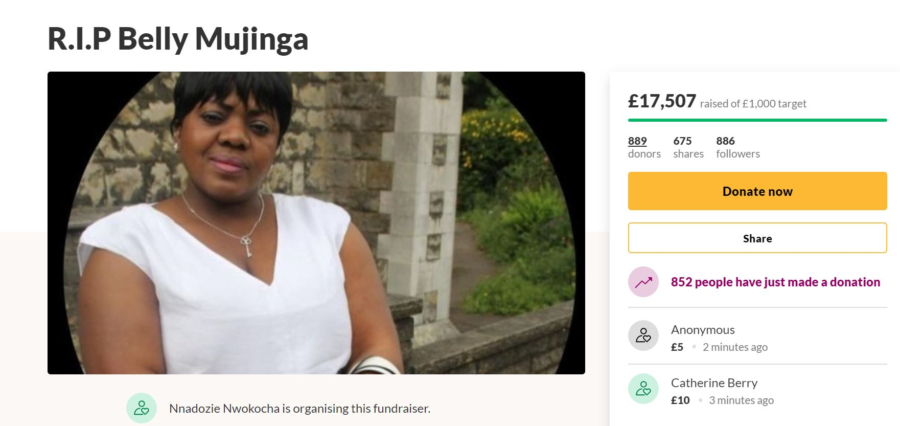 A fundraising page has been created to raise money for the family of Belly Mujinga (Screengrab/PA)