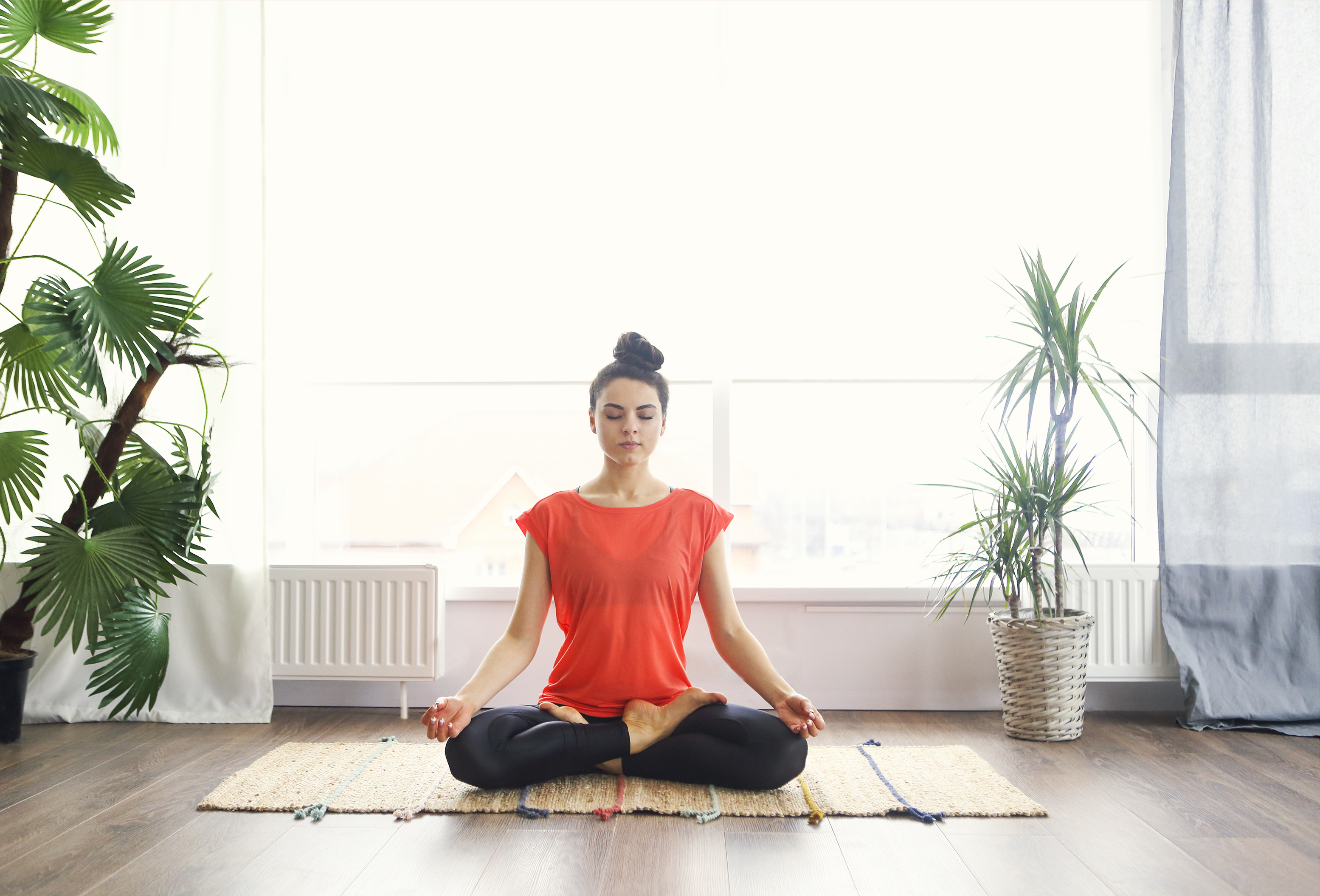 Woman meditating at home with large plants