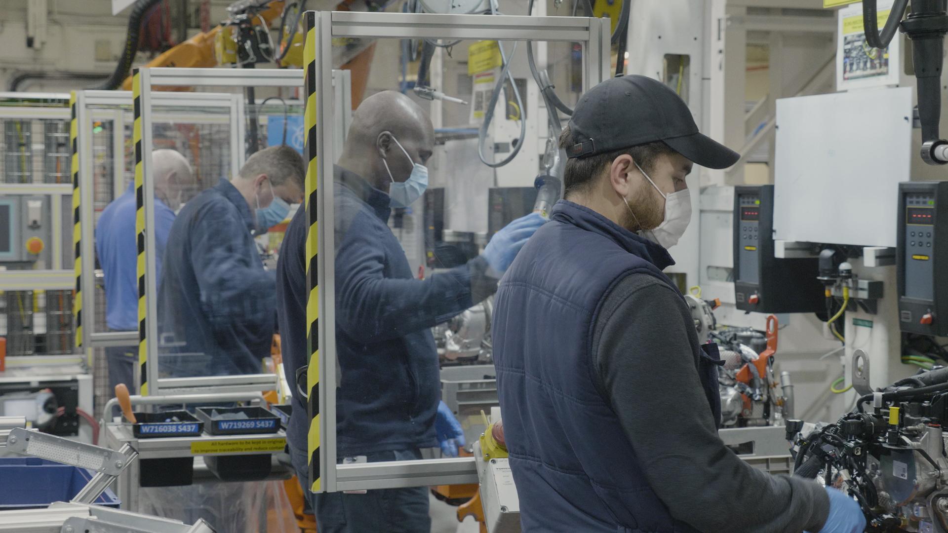 Ford Dagenham staff wearing masks