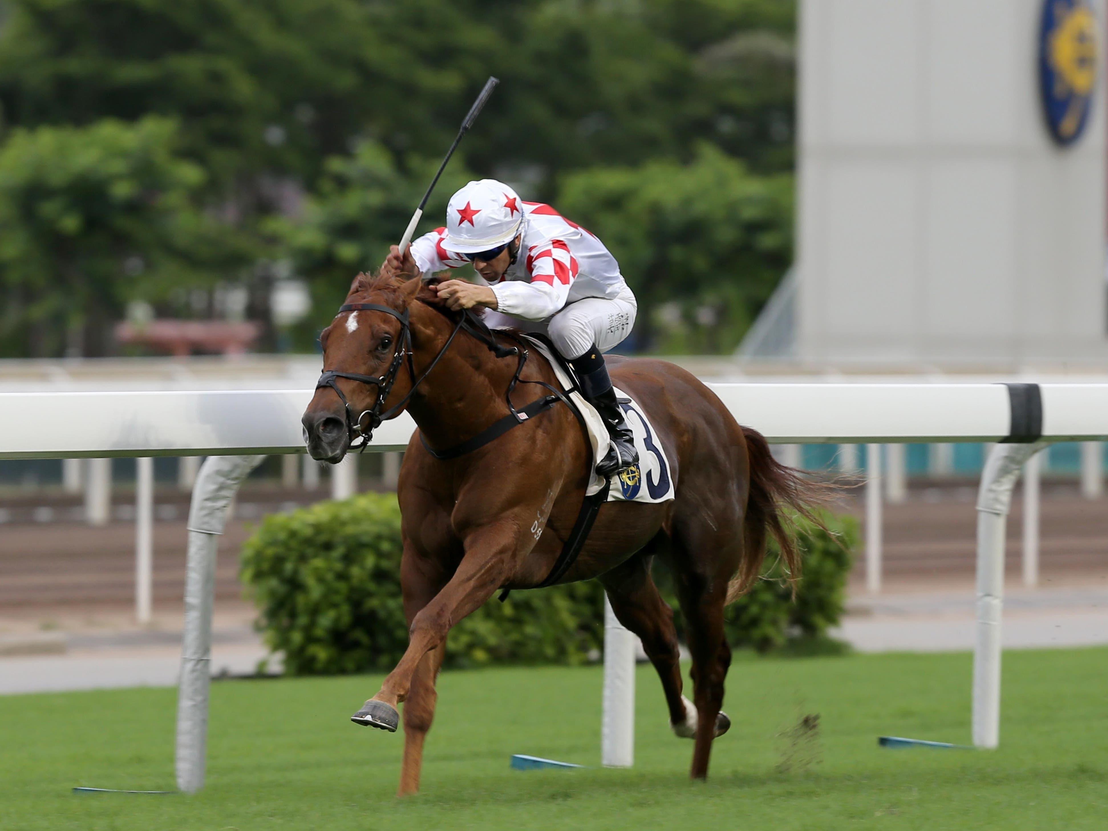 Inner Flame secured a treble for title-chasing jockey Joao Moreira at Sha Tin (Hong Kong Jockey Club)