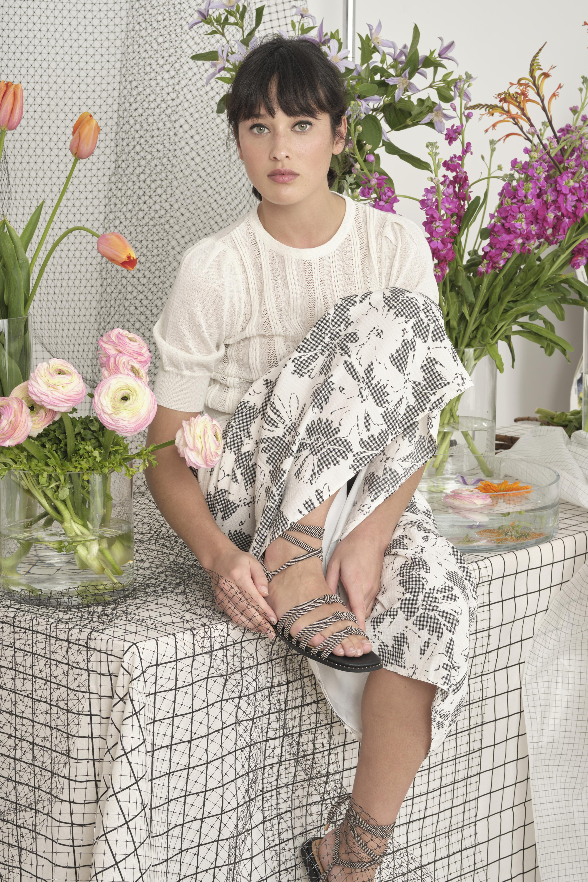 Oliver Bonas Stitched Stripe White Knitted Top; Mono Gingham & Floral Print Midi Skirt; Rope Tie Black & White Studded Sandals