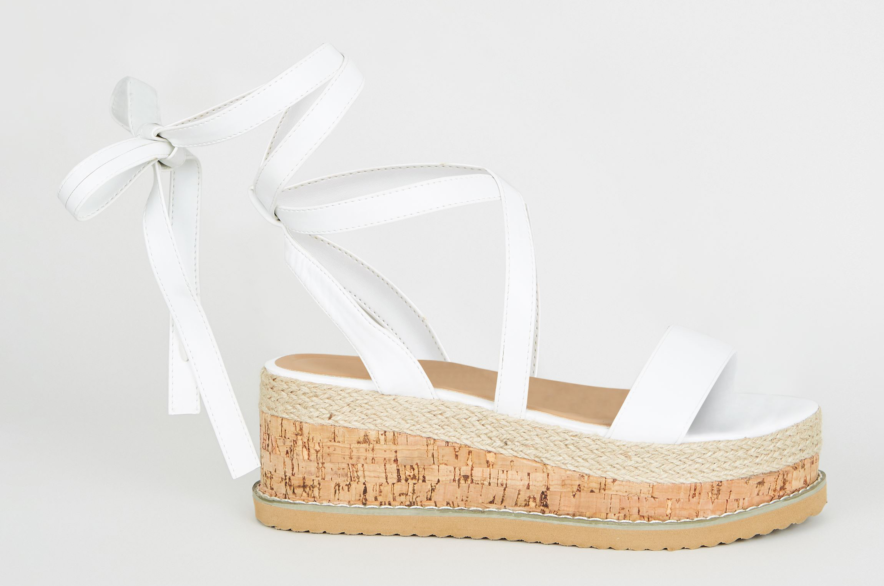 New Look White Leather-Look Ankle Tie Flatform Sandals