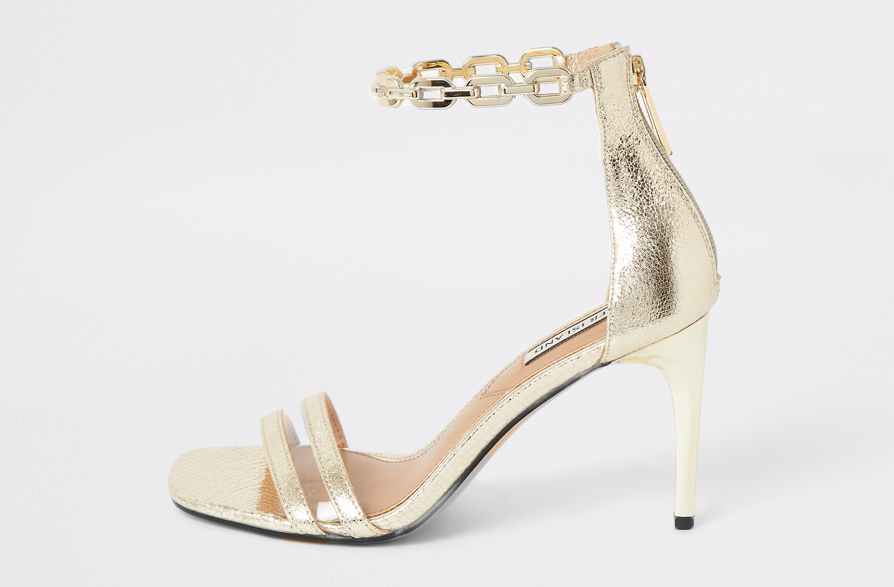 River Island Gold Chain Ankle Barely There Heeled Sandals