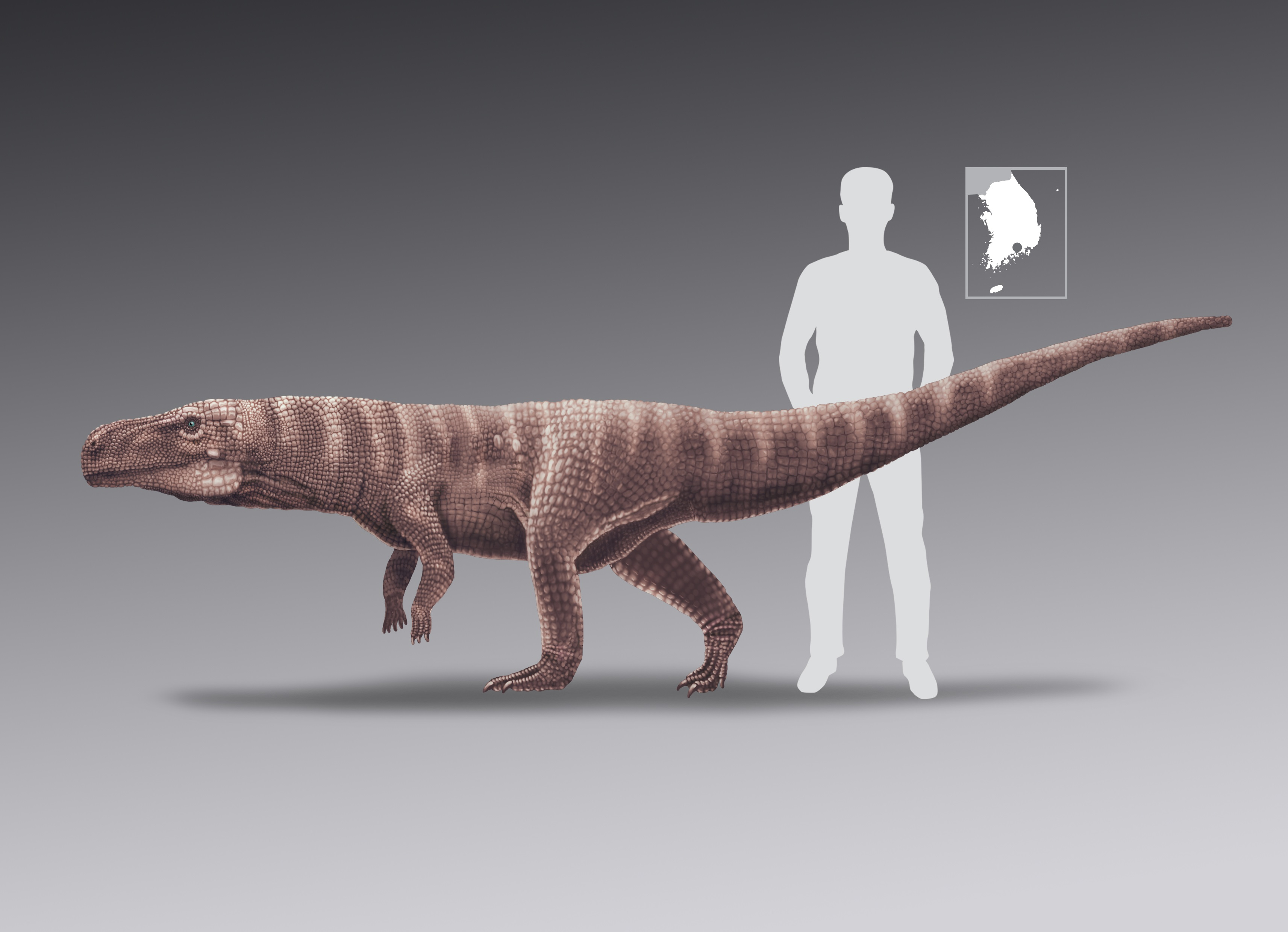An artist's impression of an ancient crocodile species that walked on two hind legs