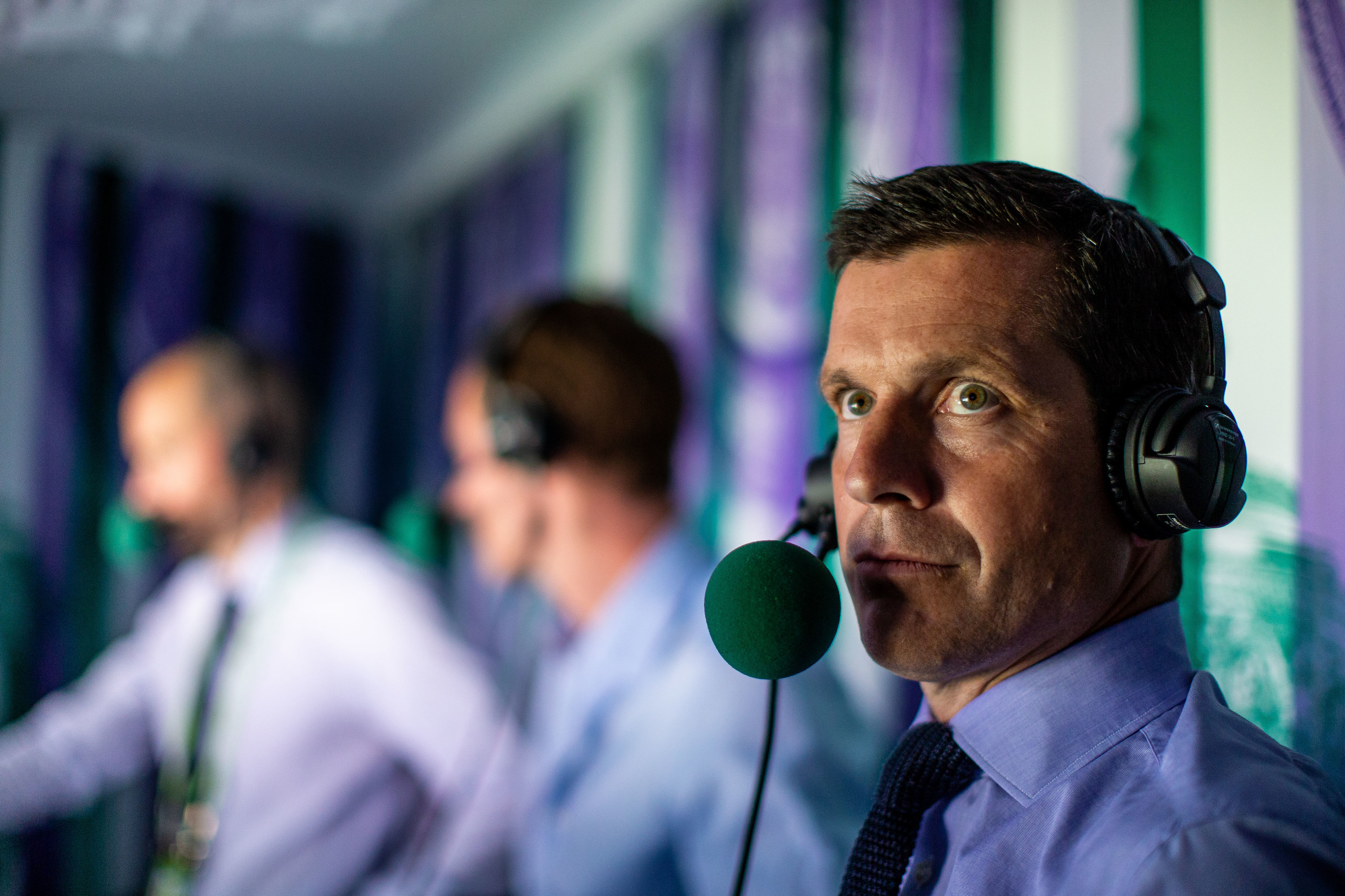Andrew Cotter, Andy Murray and Tim Henman in the commentary box on centre court on day nine of the Wimbledon (Steven Paston/PA)