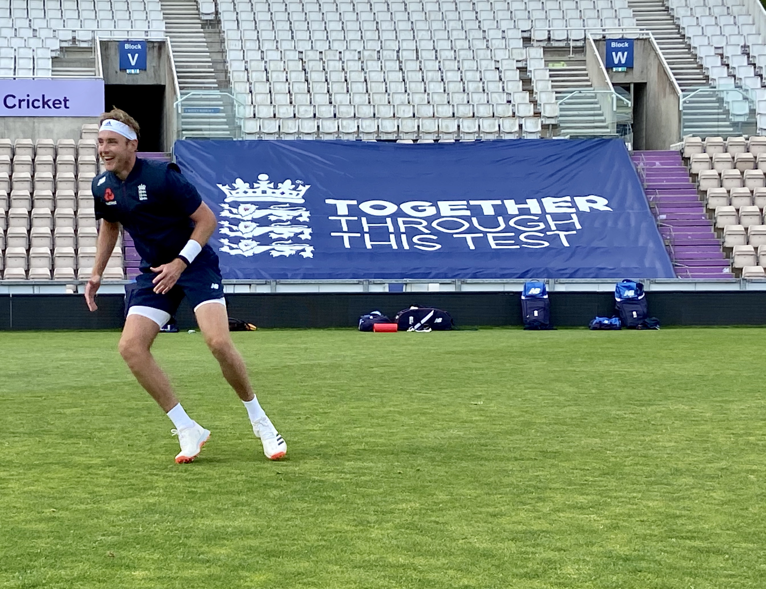 Stuart Broad trains ahead of the Test series against the West Indies