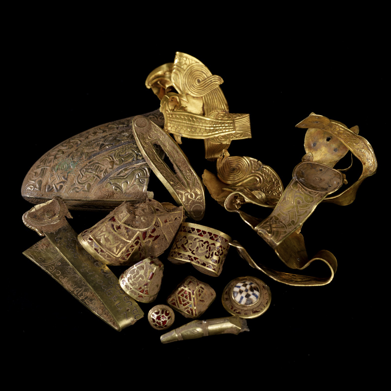 Sample from the Staffordshire Hoard which was also found under the scheme