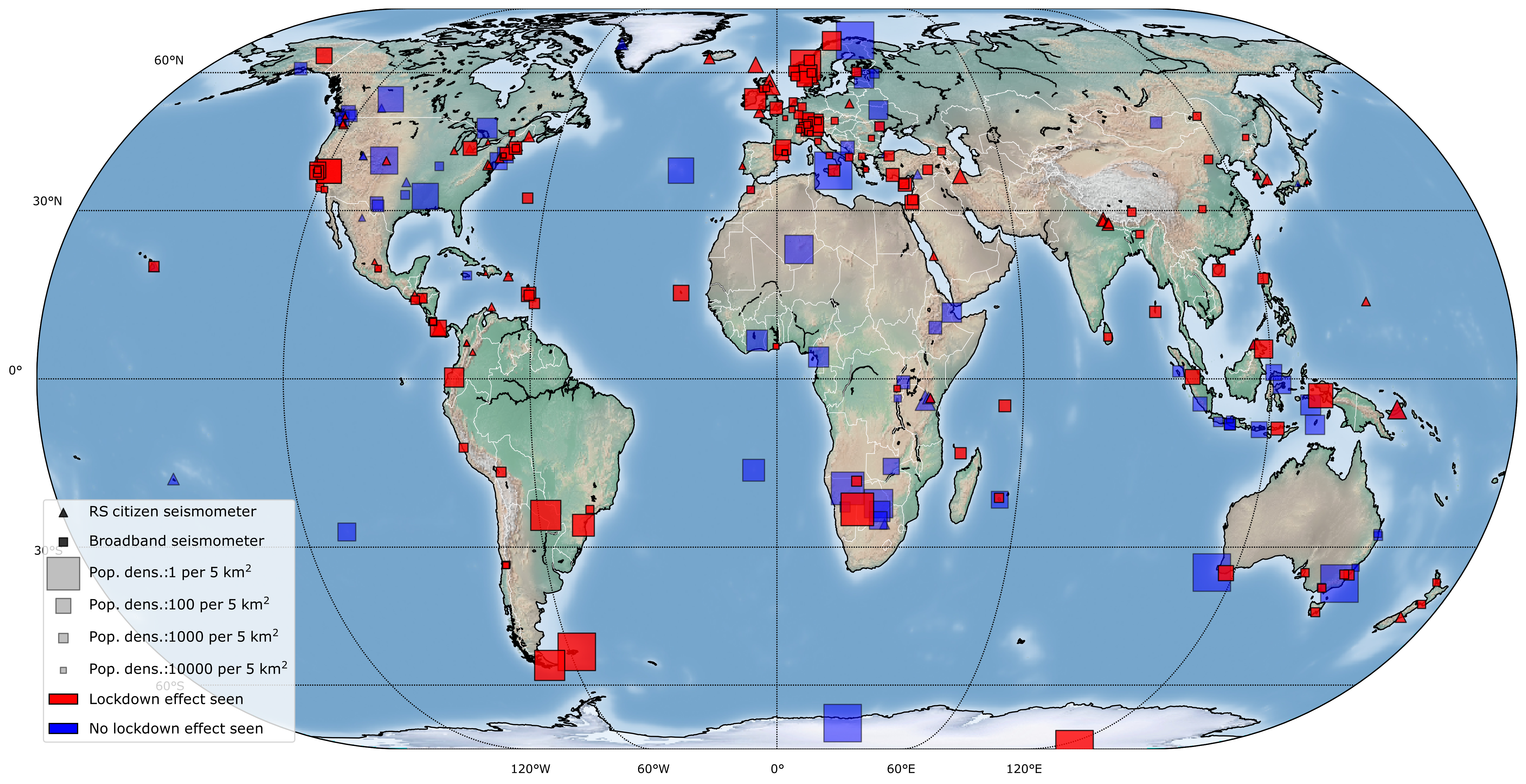 Locations of the 268 global seismic stations