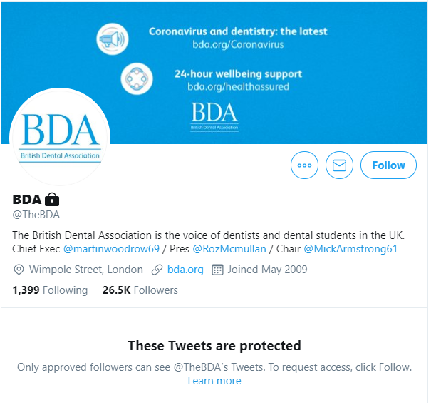 The British Dental Association's Twitter page