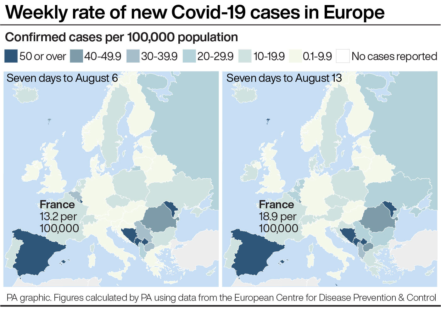 Weekly rate of new Covid-19 cases in Europe
