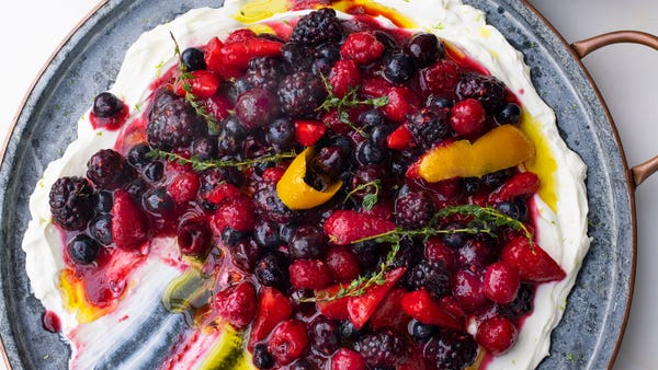 Berry platter with sheep's labneh and orange oil recipe