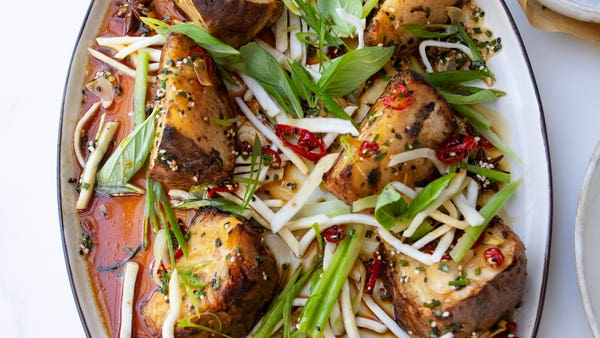 Roasted and pickled celeriac with sweet chilli dressing recipe