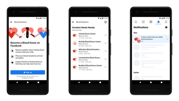Facebook rolls out blood donation feature to parts of UK