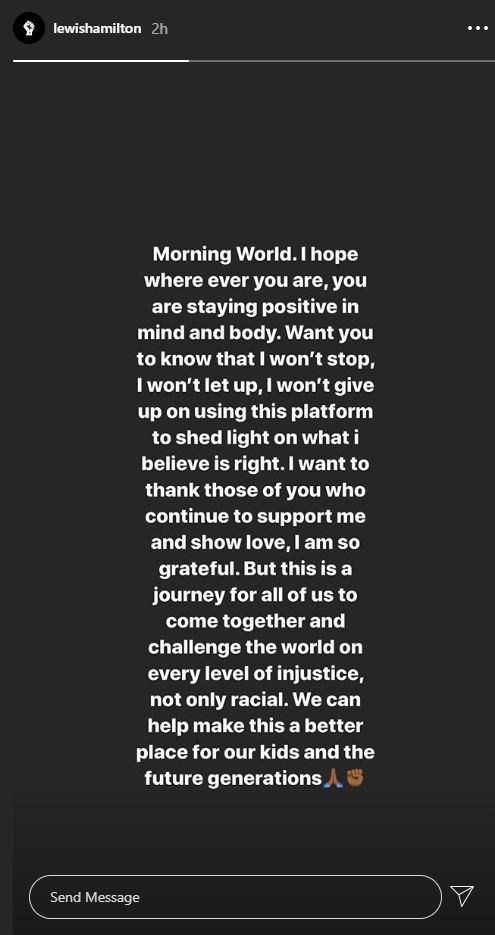 Lewis Hamilton took to social media on Tuesday
