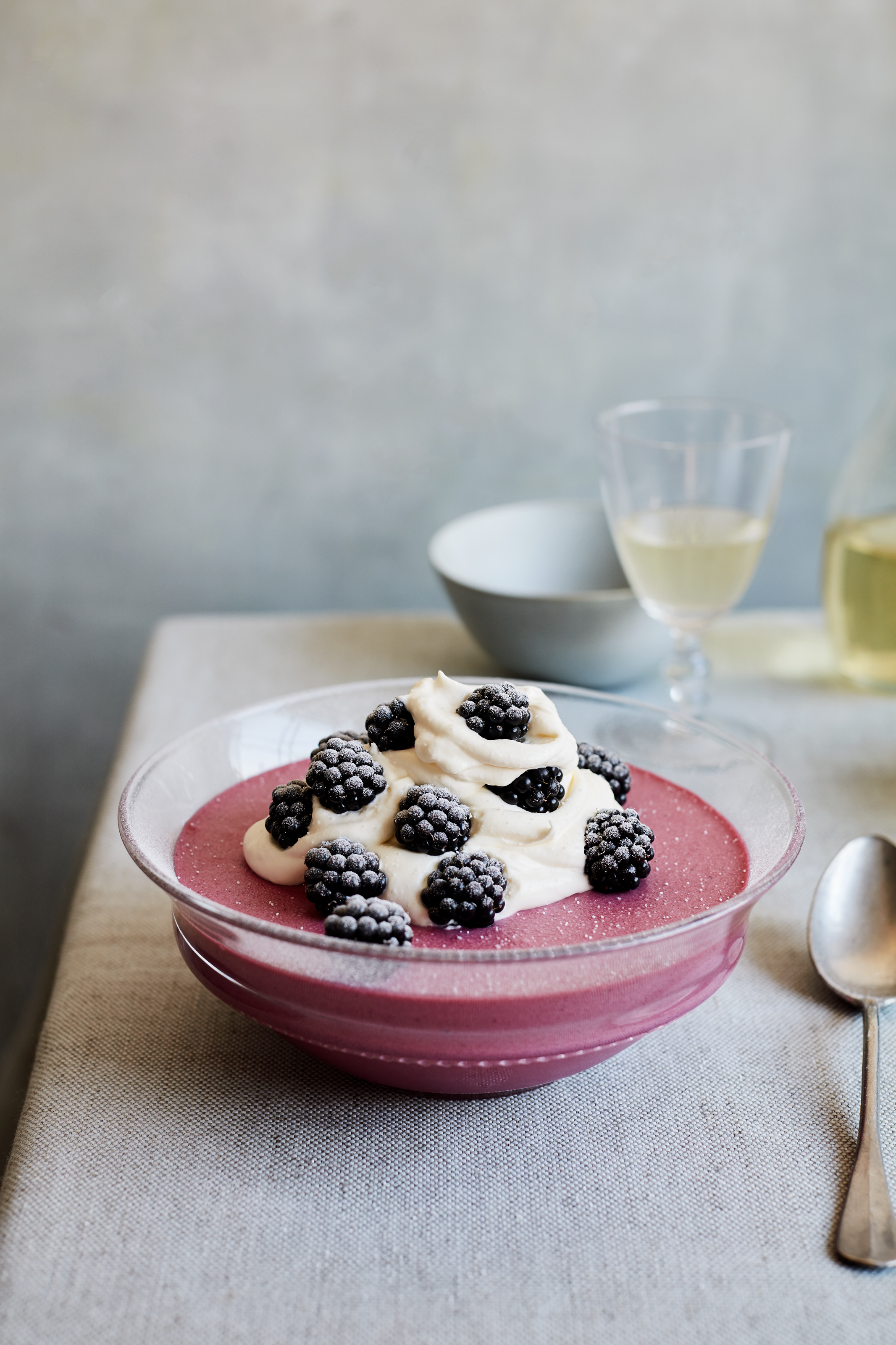 Undated Handout Photo of wild bramble mousse from Simple Comforts by Mary Berry (BBC Books, £26). See PA Feature FOOD Mary Berry. Picture credit should read: Laura Edwards/PA. WARNING: This picture must only be used to accompany PA Feature FOOD Mary Berry