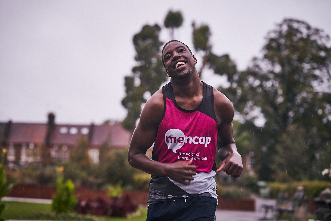 "Aaron Plummer, 20, who has cerebral palsy and a learning disability, completed the race in Walthamstow, London, to raise money for Charity of the Year, Mencap, and ""give back to the greatest charity ever"" (Mencap/PA Wire)."