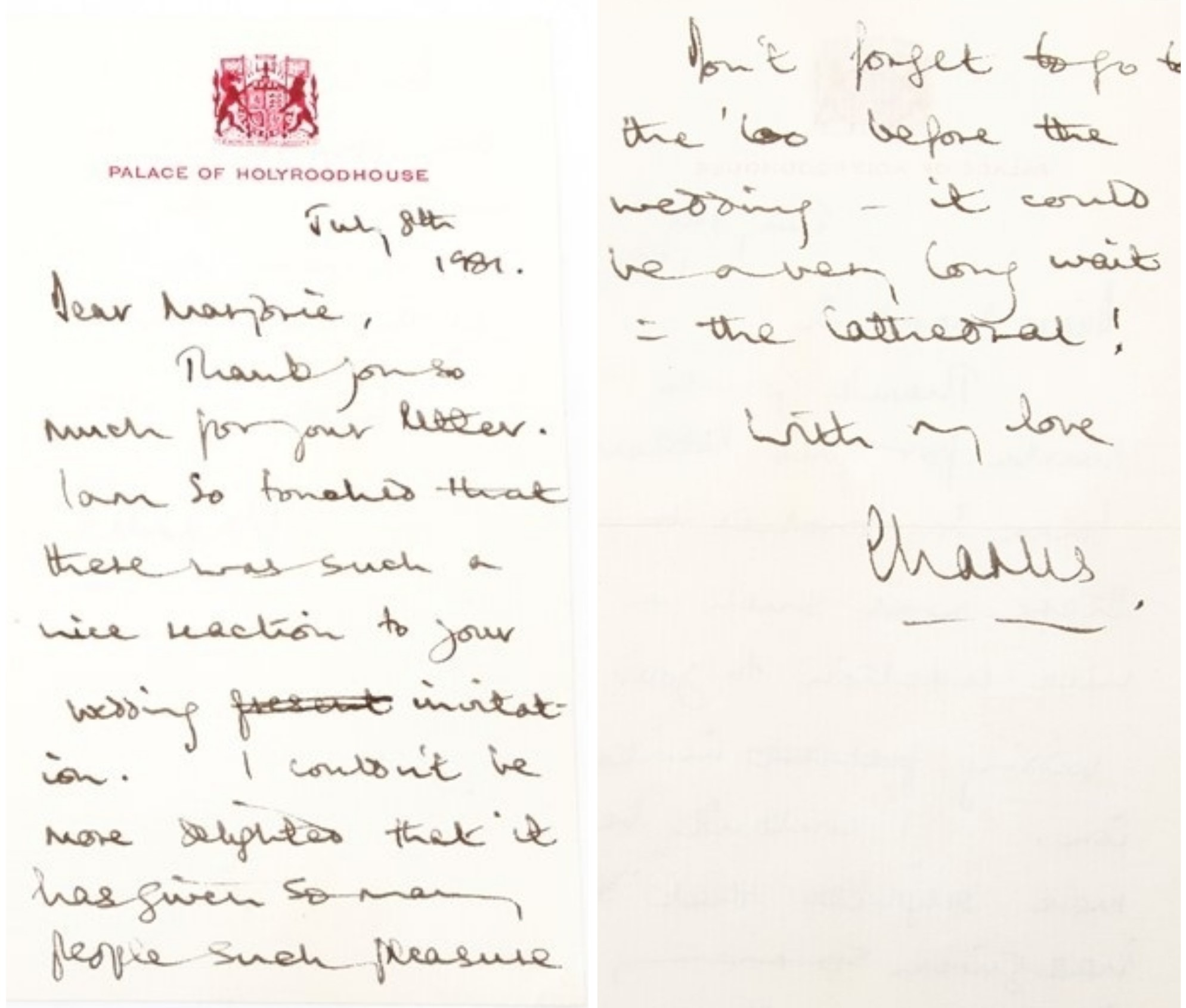 Charles letter ahead of his wedding to Diana