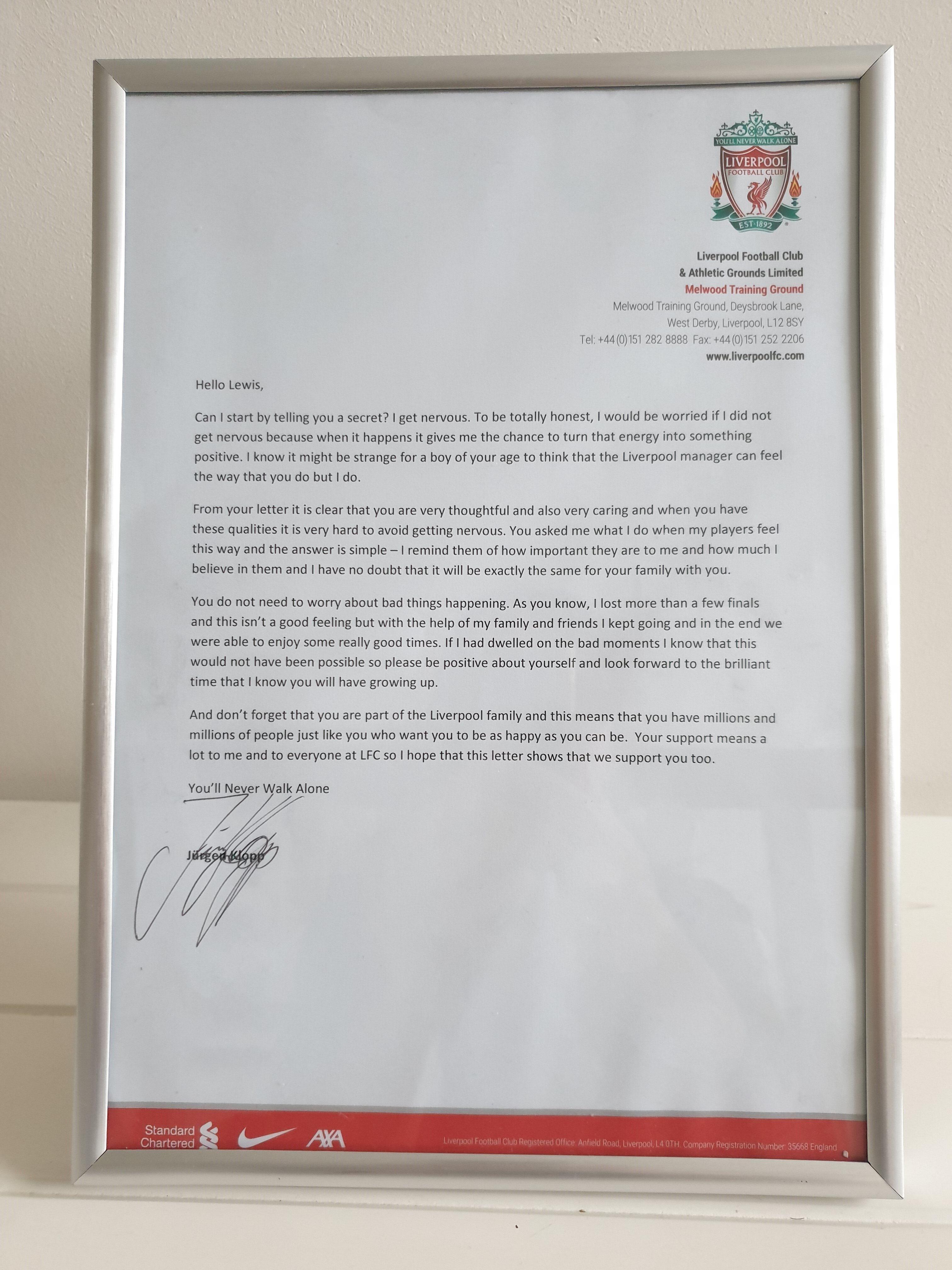 The framed letter from Jurgen Klopp to Lewis