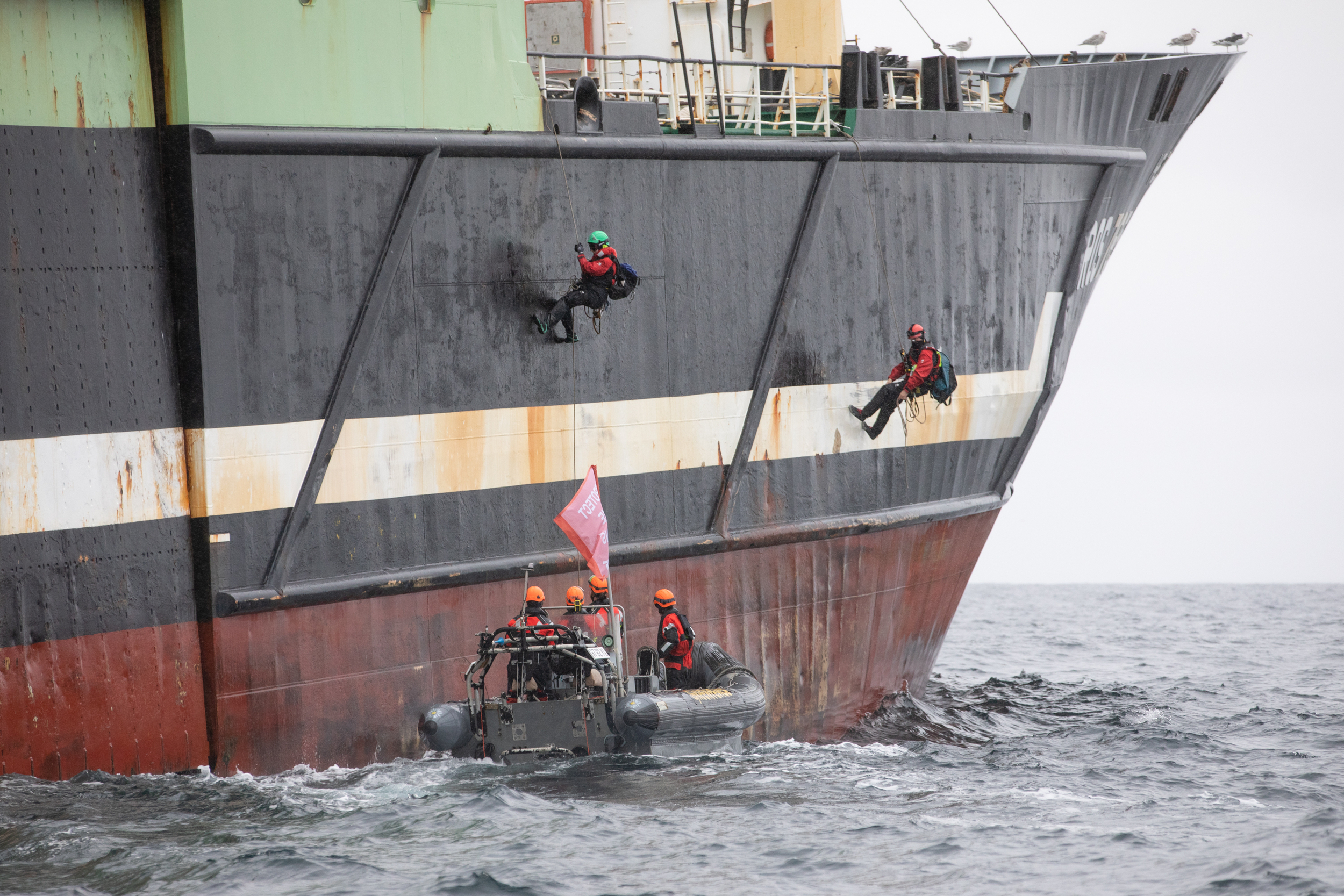 Greenpeace activists board the Helen Mary supertrawler