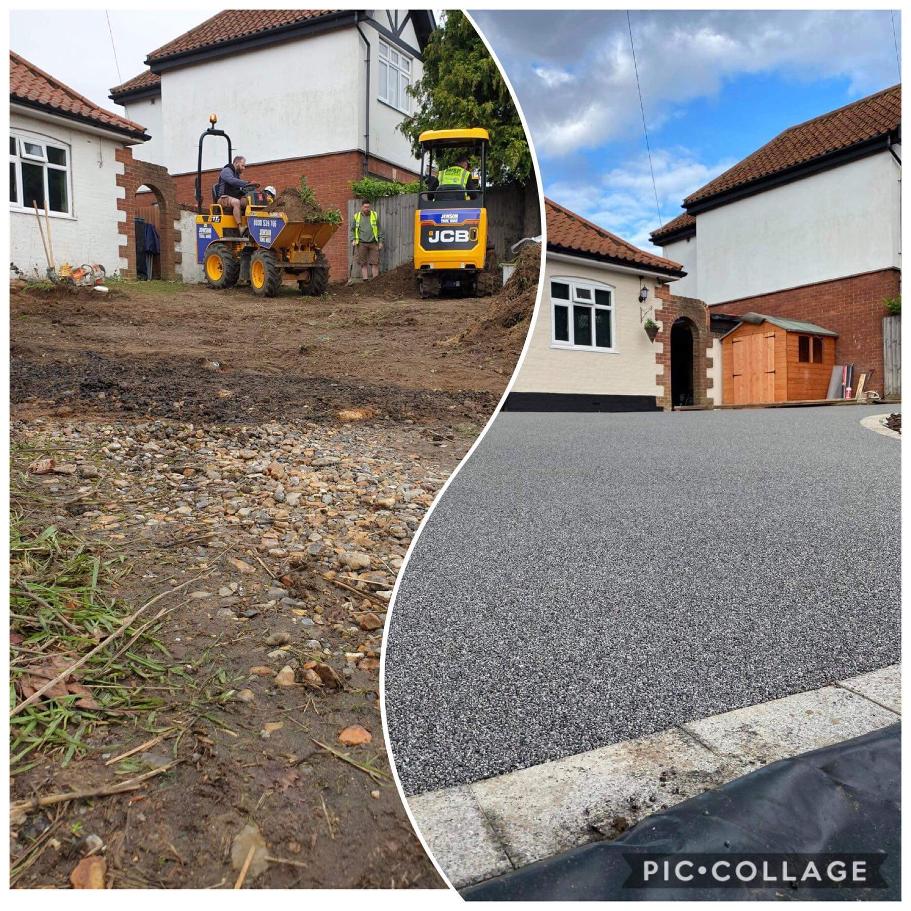 Chris Joy's driveway before and after (Band Of Builders/PA)
