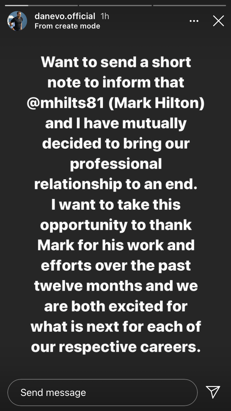 Dan Evans announces his impending split from Mark Hilton