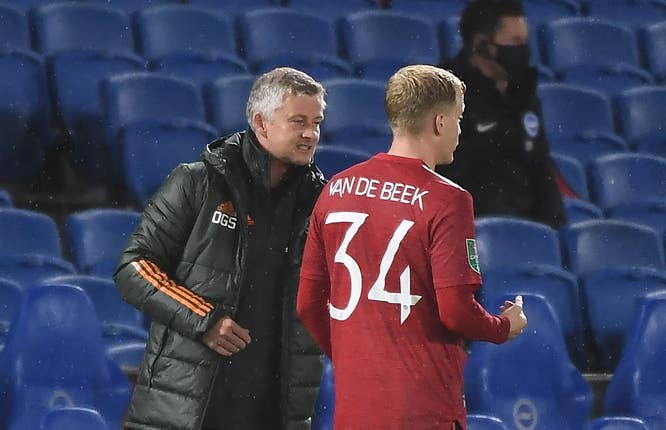 Donny Van De Beek has yet to be handed a Premier League start by Manchester United boss Ole Gunnar Solskjaer.