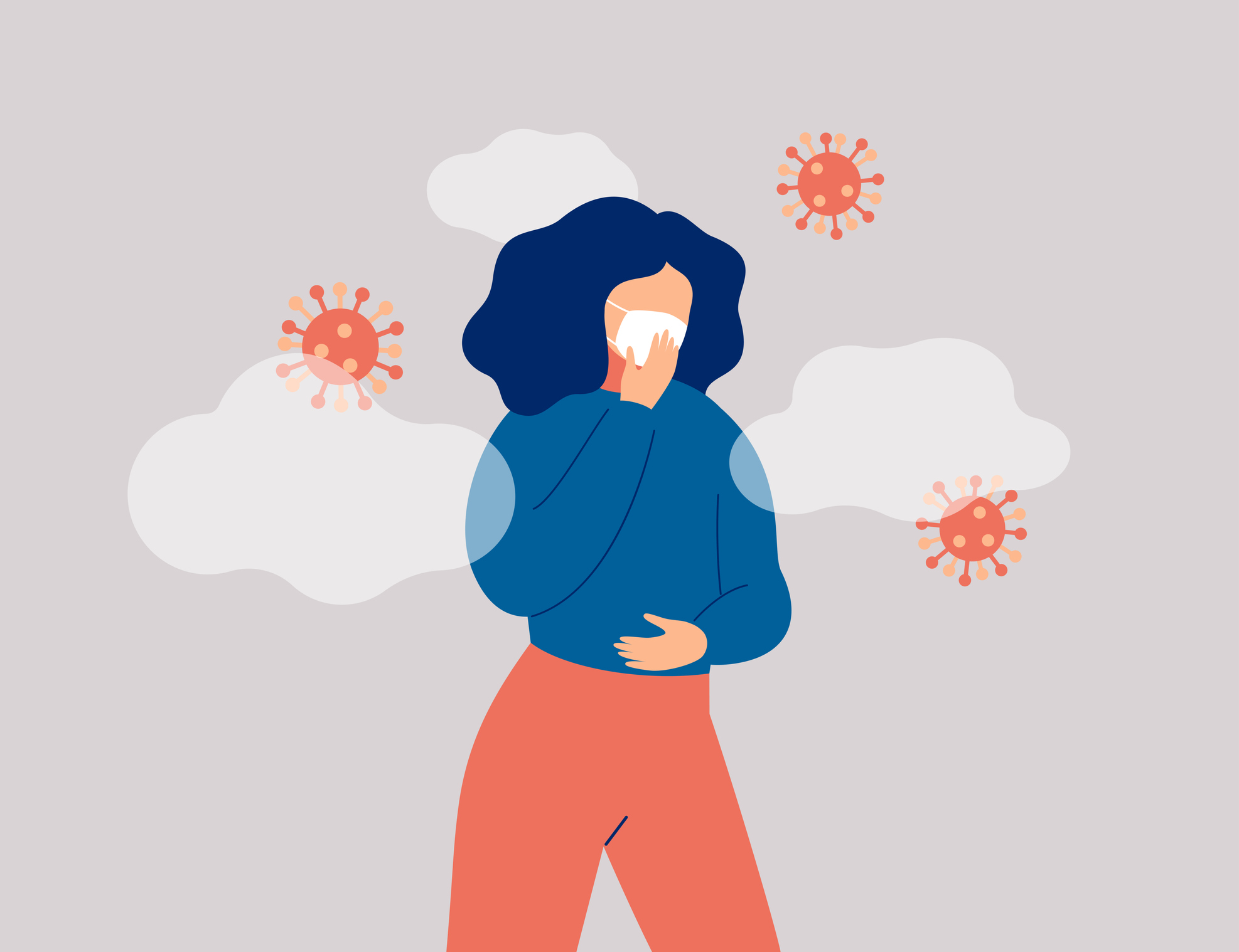illustration of Sick woman surround microbes is wearing face mask