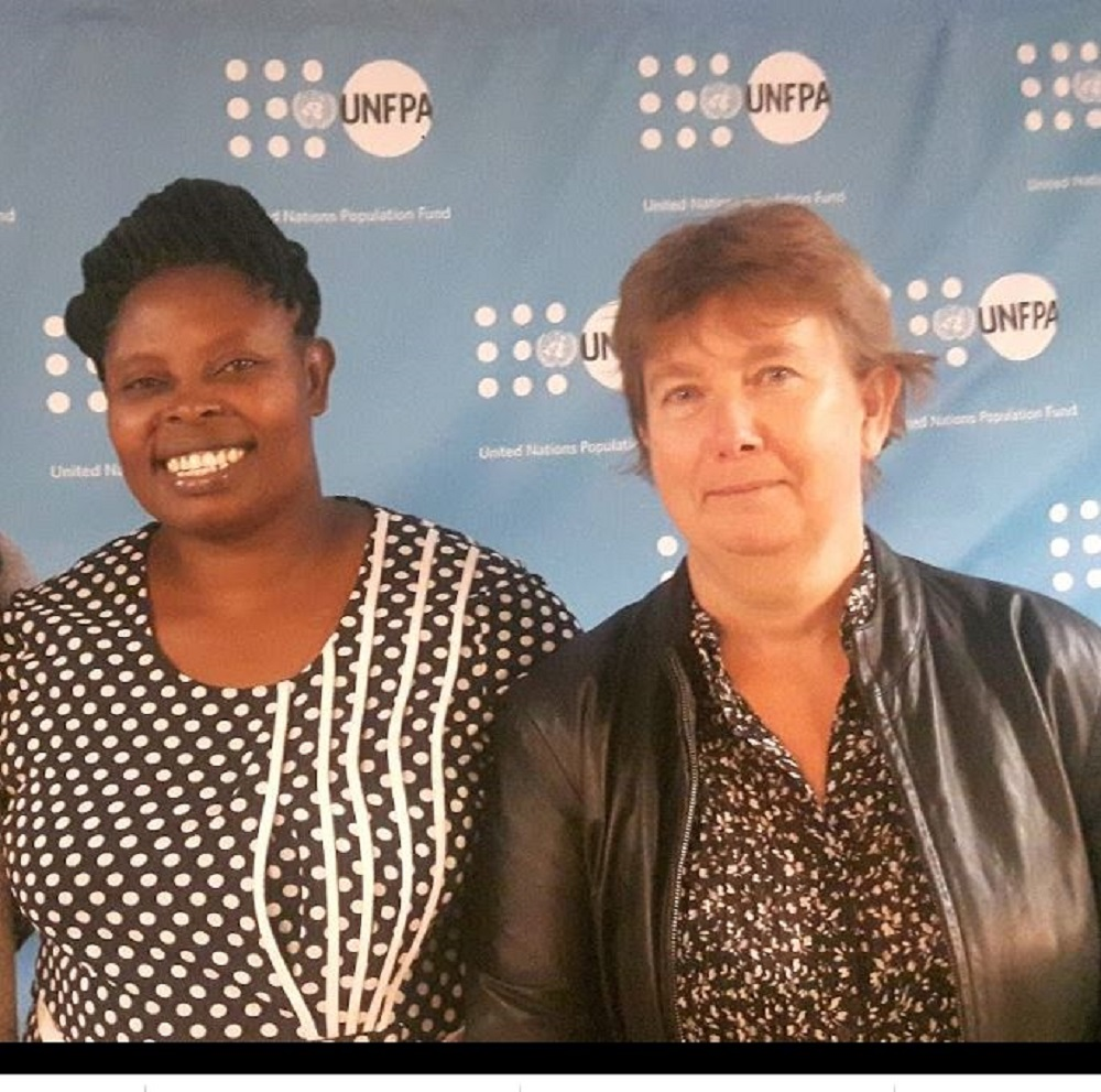 Rhobi Samwelly and Crowd2Map founder Janet Chapman at the United Nations in 2018 (Tanzania Development Trust/PA)