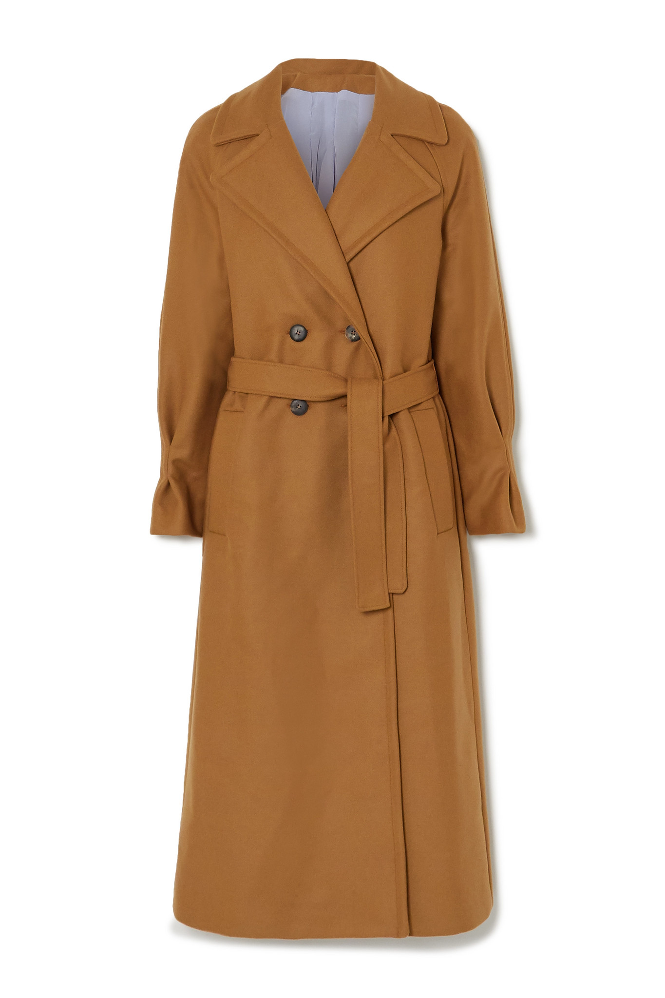 Belted double-breasted merino wool-blend coat,