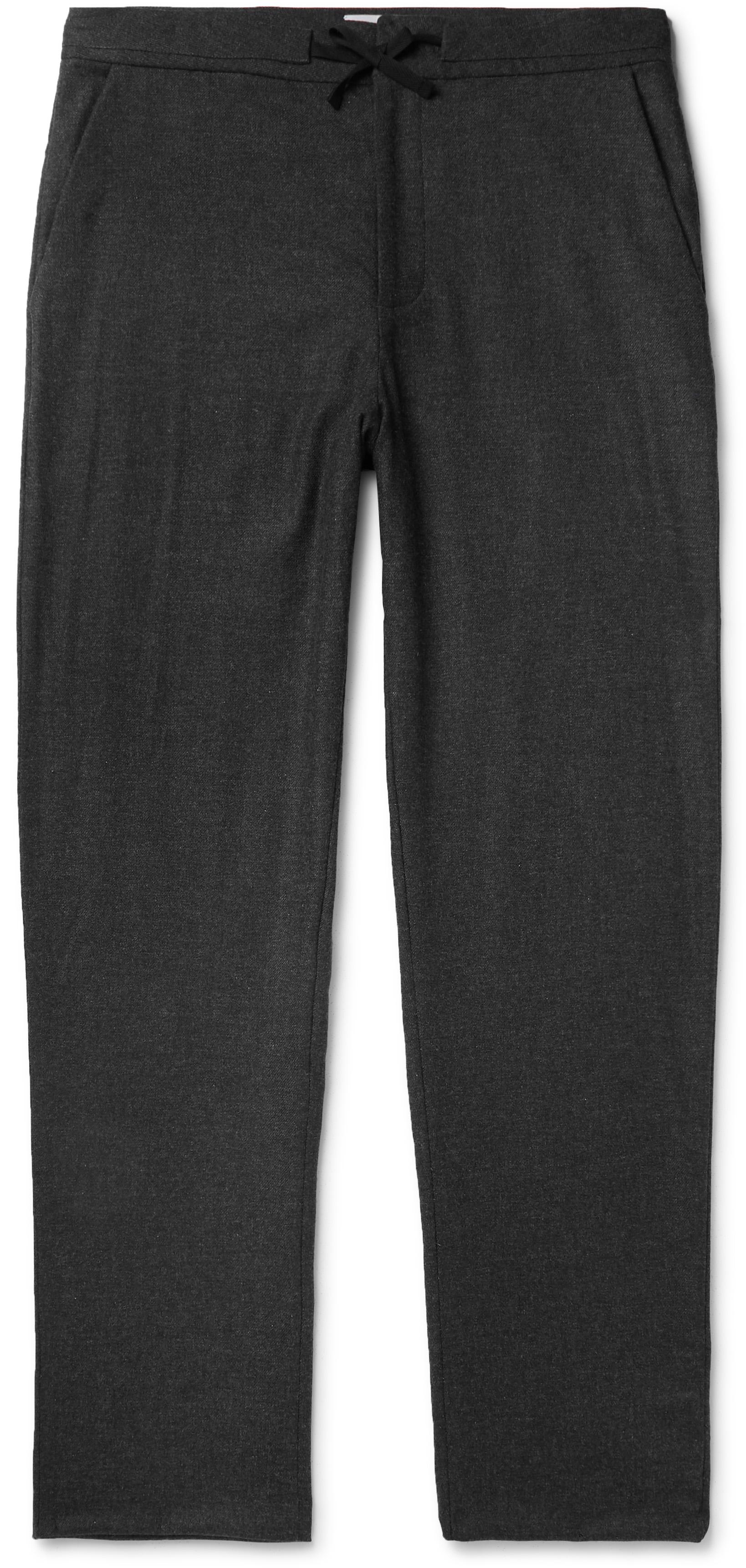 Merino wool blend drawstring trousers
