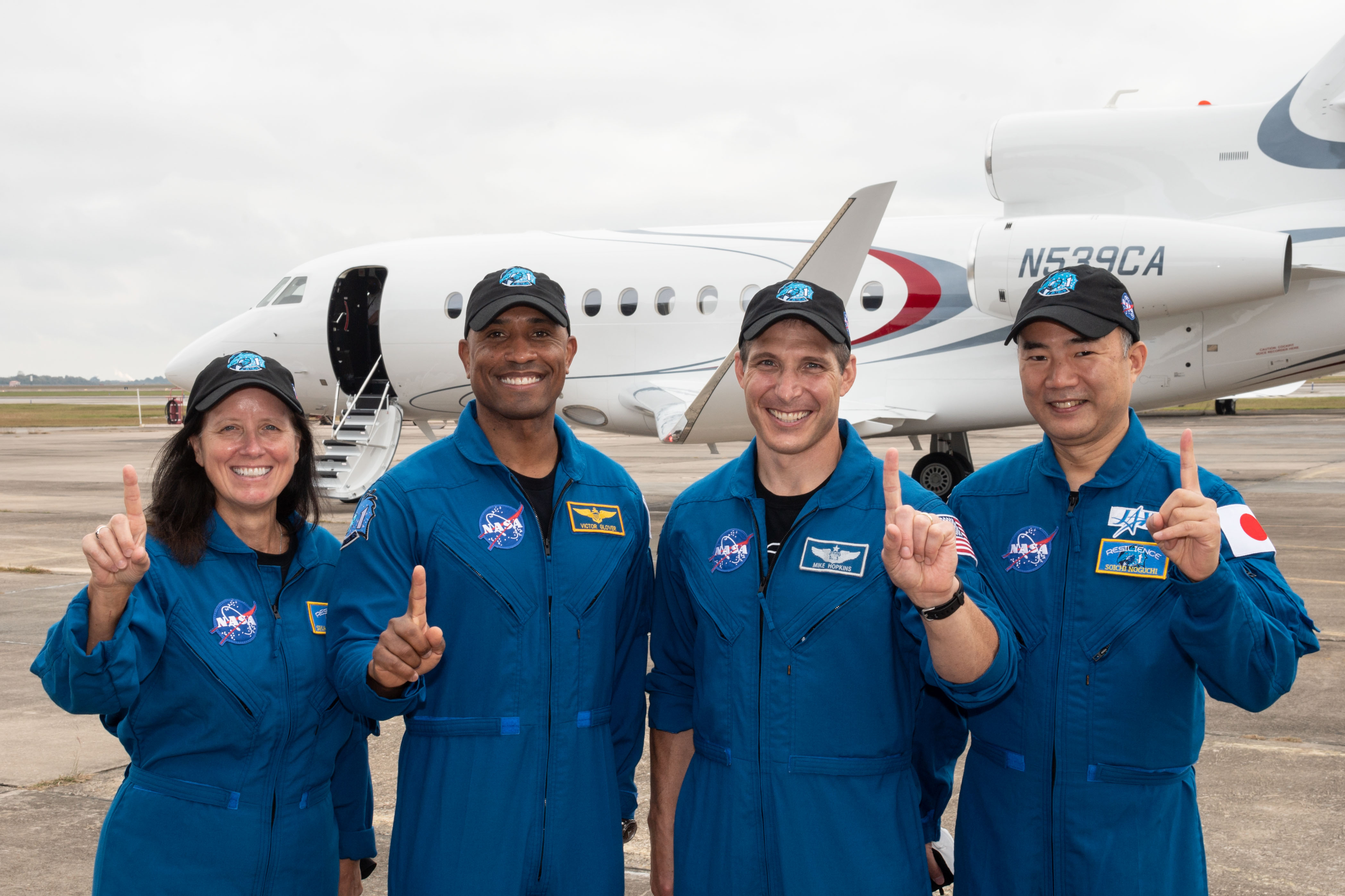 From left, Crew-1 astronauts Shannon Walker, Victor Gover, Michael Hopkins and Soichi Noguchi at Nasa's Johnson Space Center in Houston, Texas