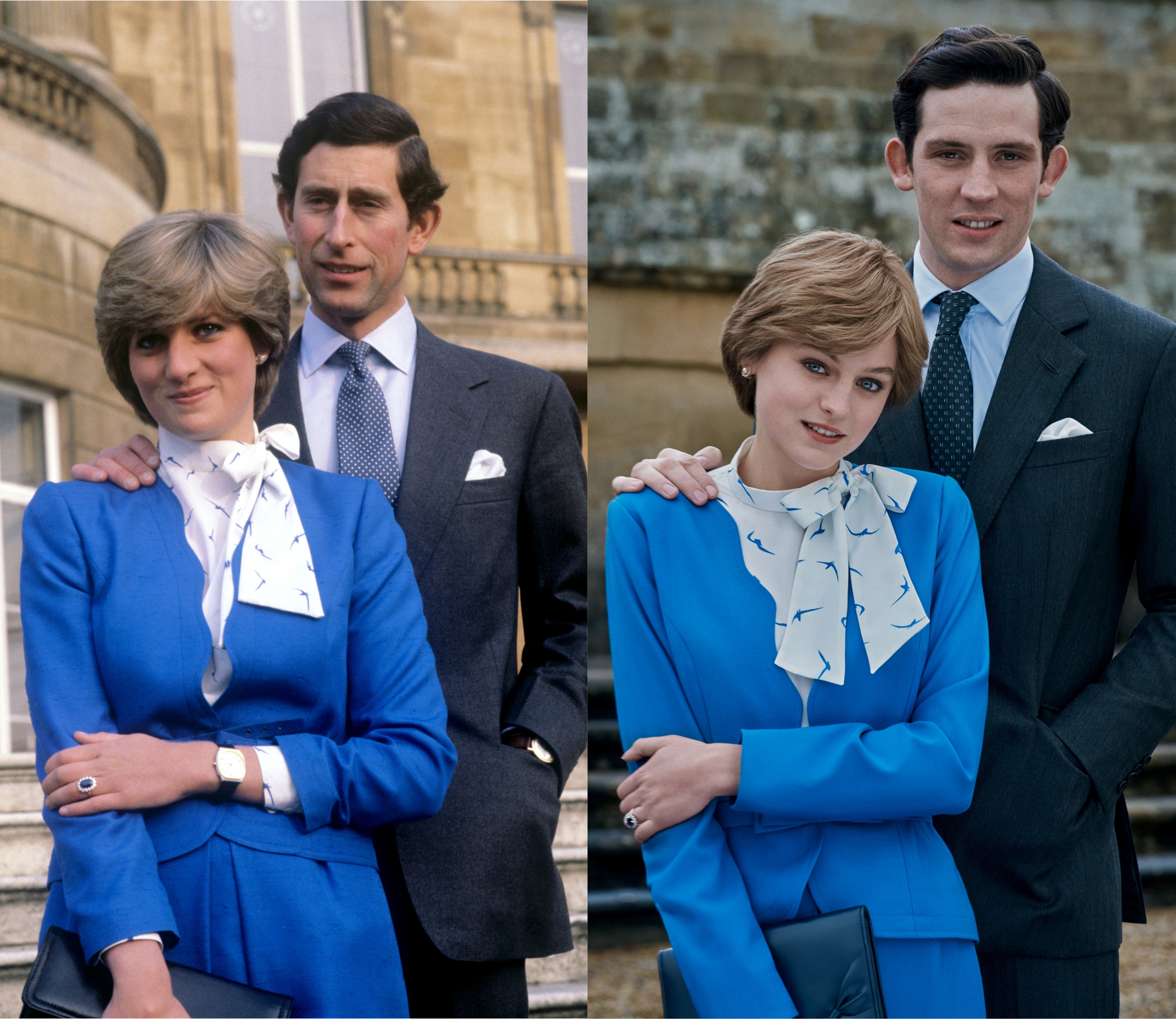 (L) Diana and Charles after announcing their engagement in 1981 and (R) Emma Corrin and Josh O'Connor recreate the moment