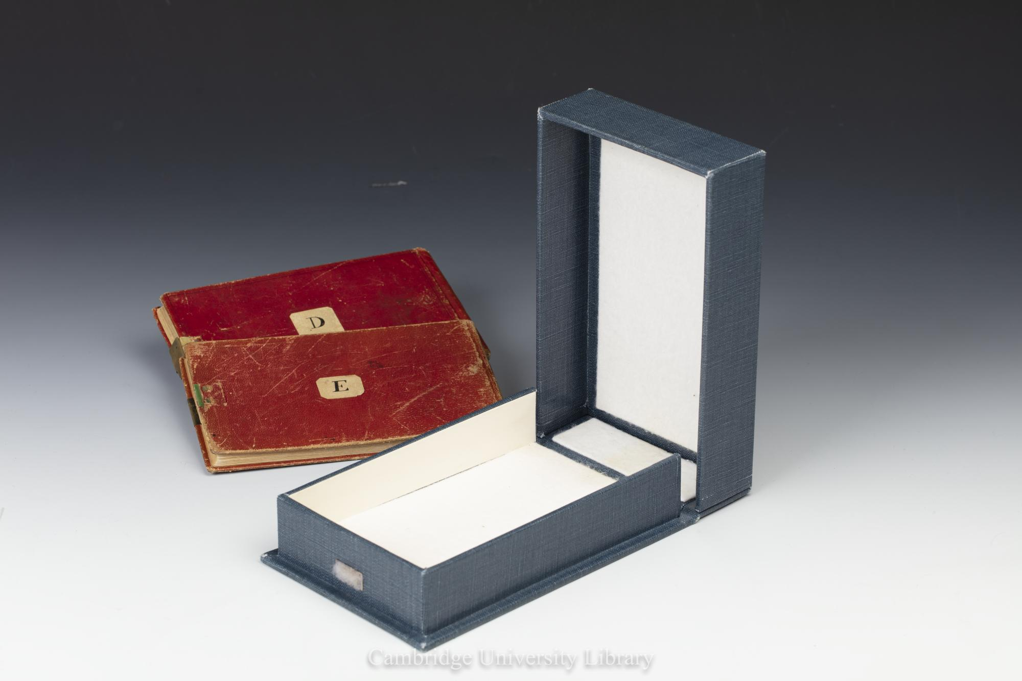 The two missing notebooks were kept in a small blue box around the size of an average paperback book. (Cambridge University Library/ PA)