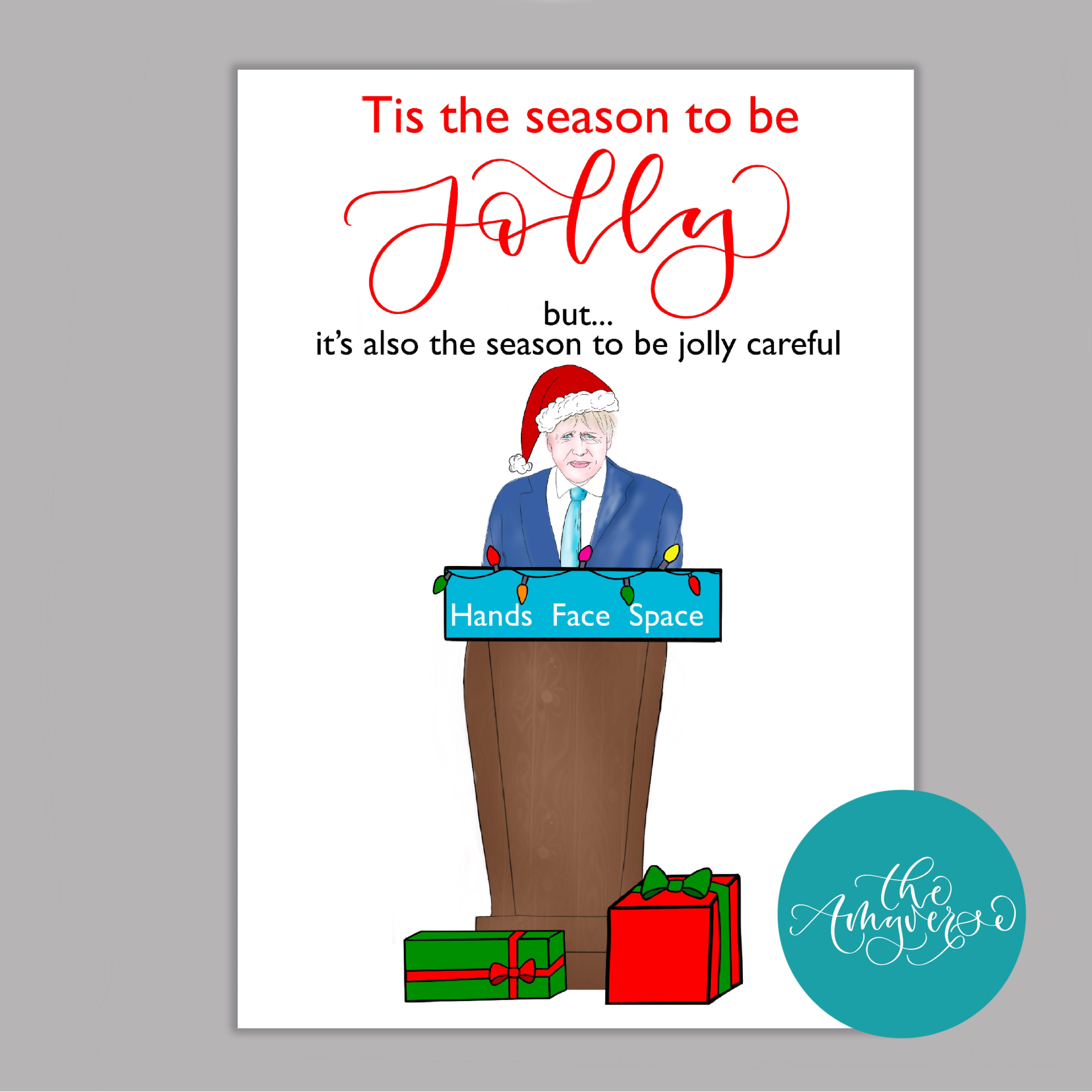 One of the Christmas cards created and sold by small business The Amyverse